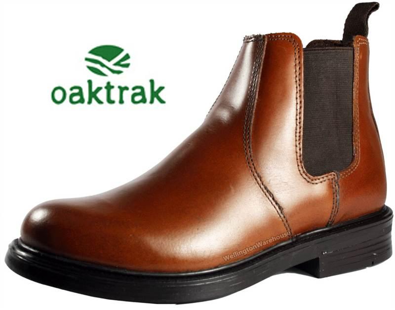 806db4c6e849 Oaktrak Kids Walton Tan Brown Chelsea Leather Pull on Jodhpur BOOTS ...