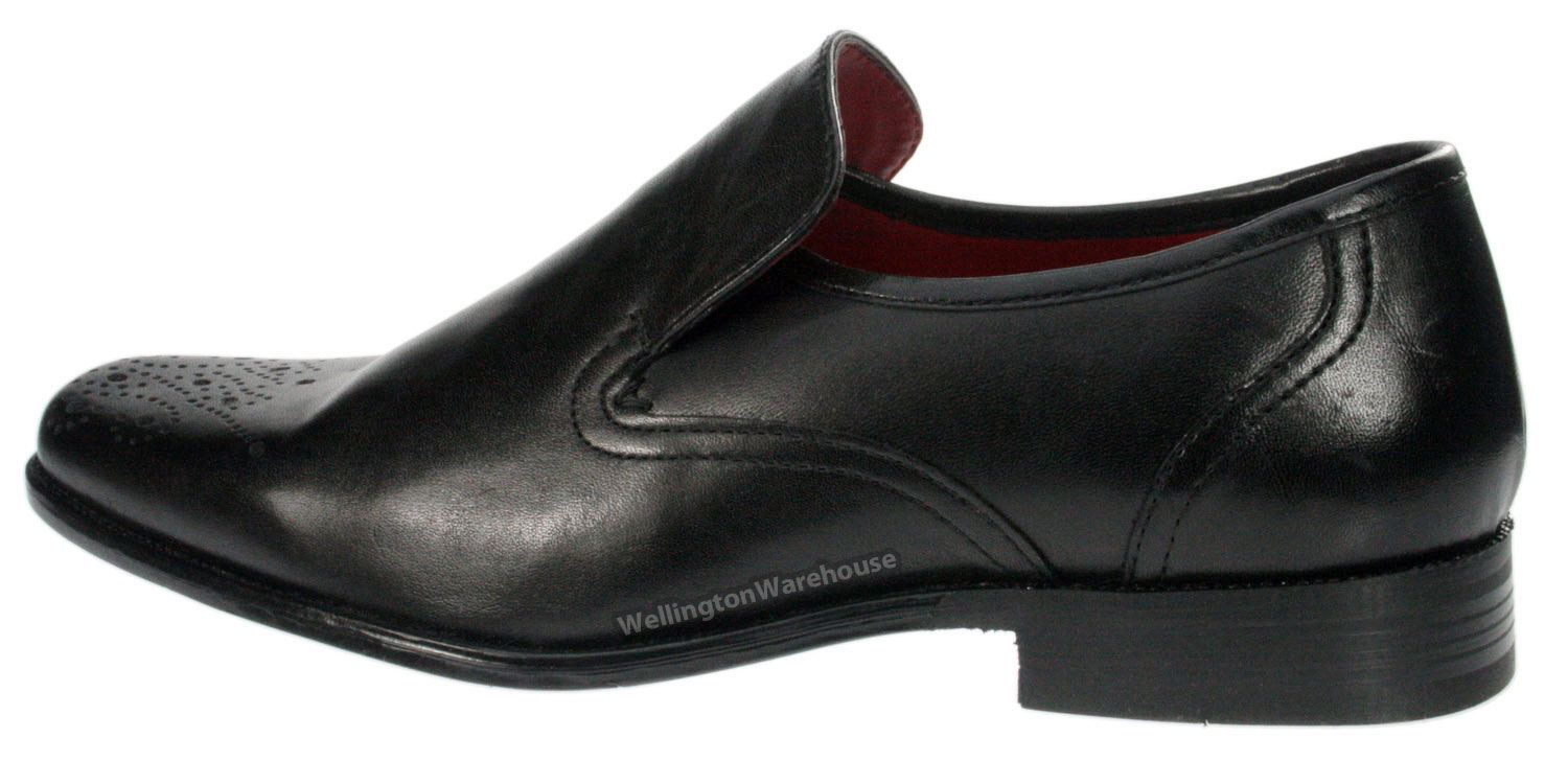 Mens Brown Slip On Smooth Square Toe Leather Shoes