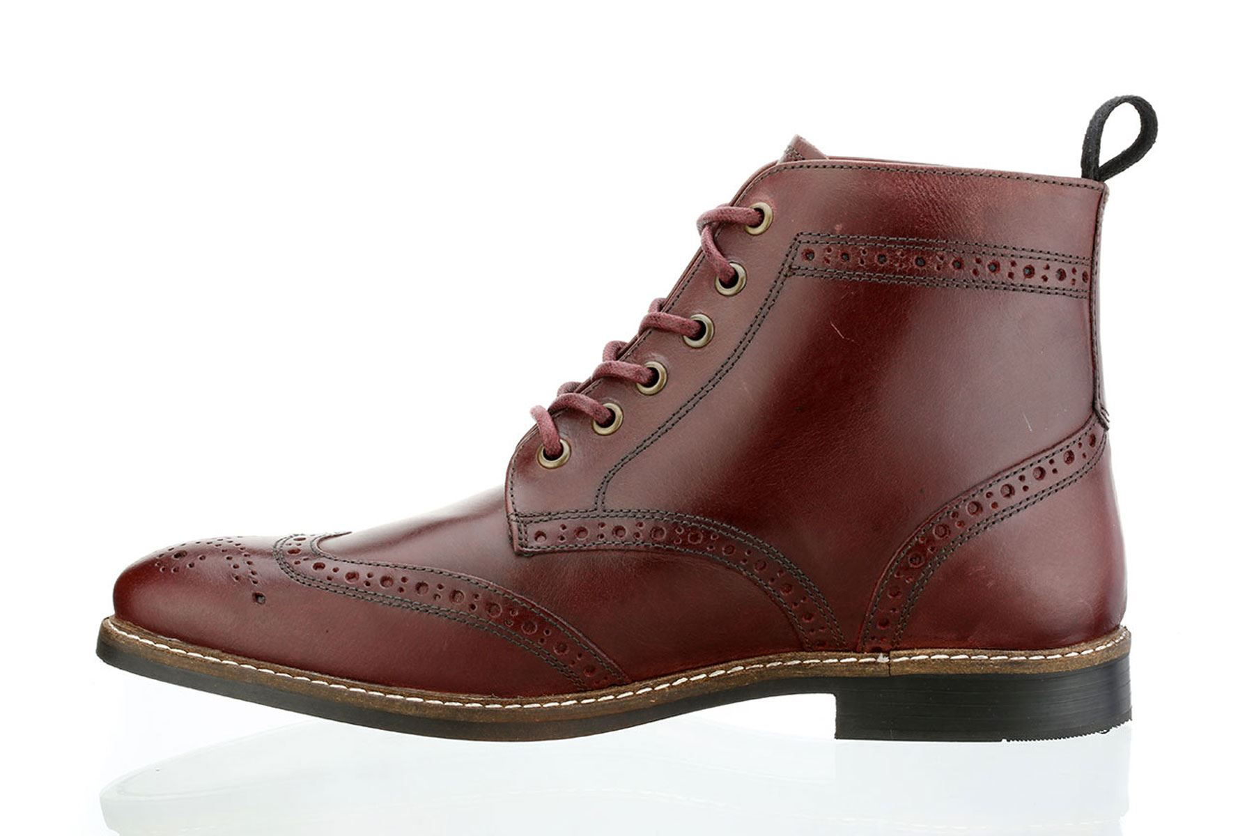 Red Tape Mens Brogue Fashion Round toe Lace Up Leather Burnished Tan ... b1cf5261561