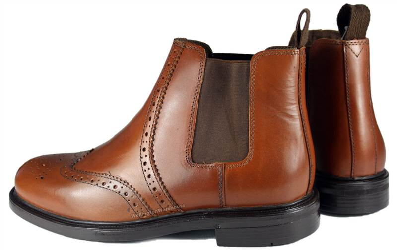 5813e38aff8 Appleby Oaktrak Leather Chestnut Brown Brogue Black Pull On Chelsea Boots  9-6
