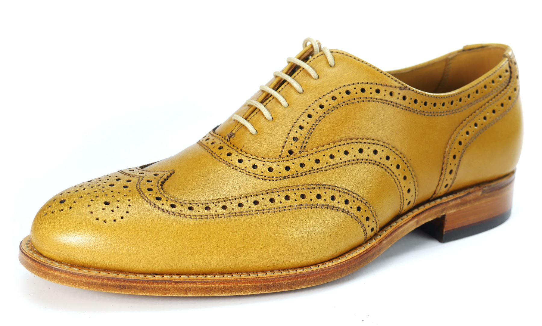 Charles Horrel Handmade in England Welted Cambridge Wing Tip Tan Brogue Schuhes