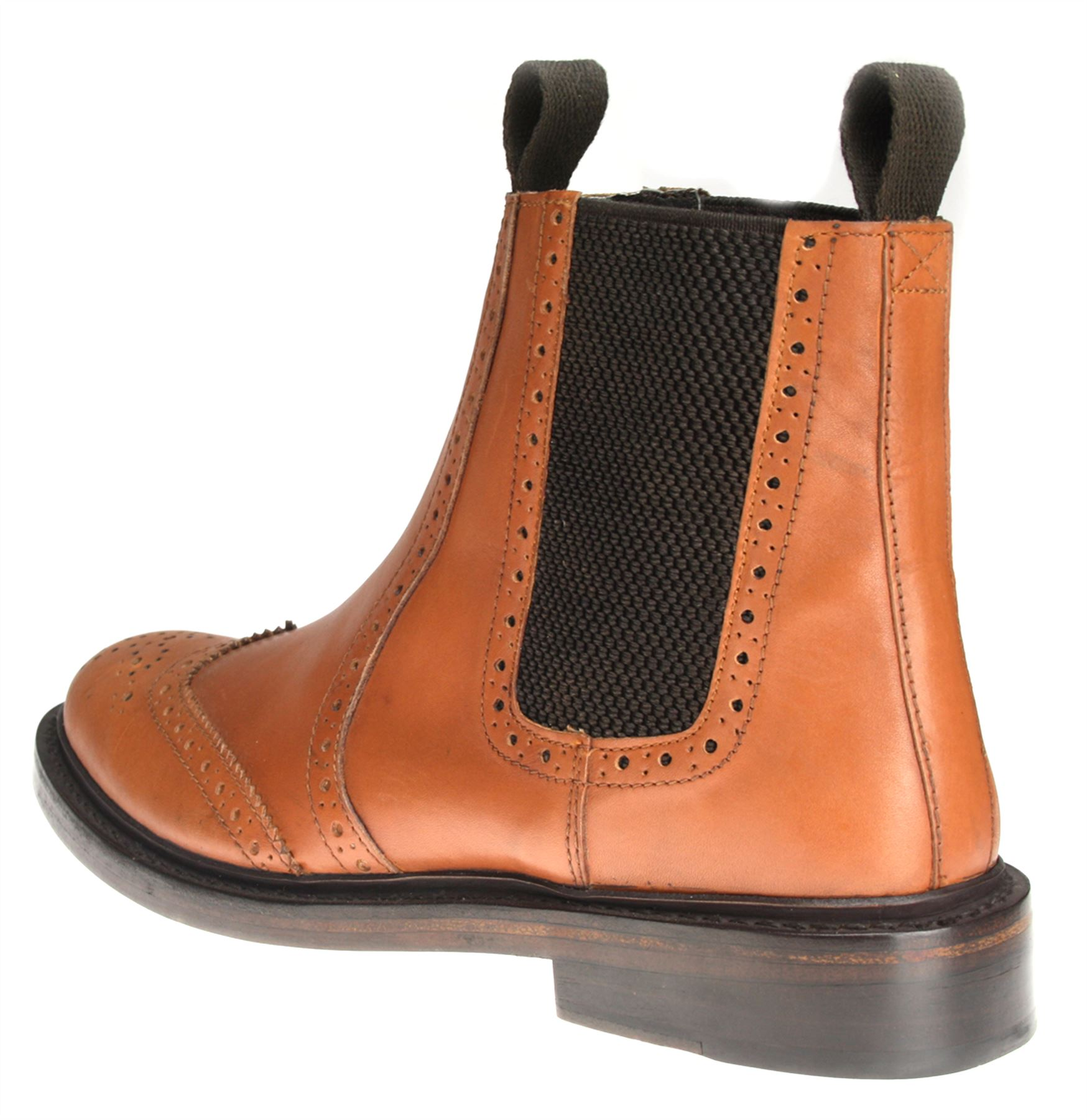 accd1aca9af Details about Benchgrade 1920 Mens Tan or Black All Leather Welted Chelsea  Brogue Dealer Boots