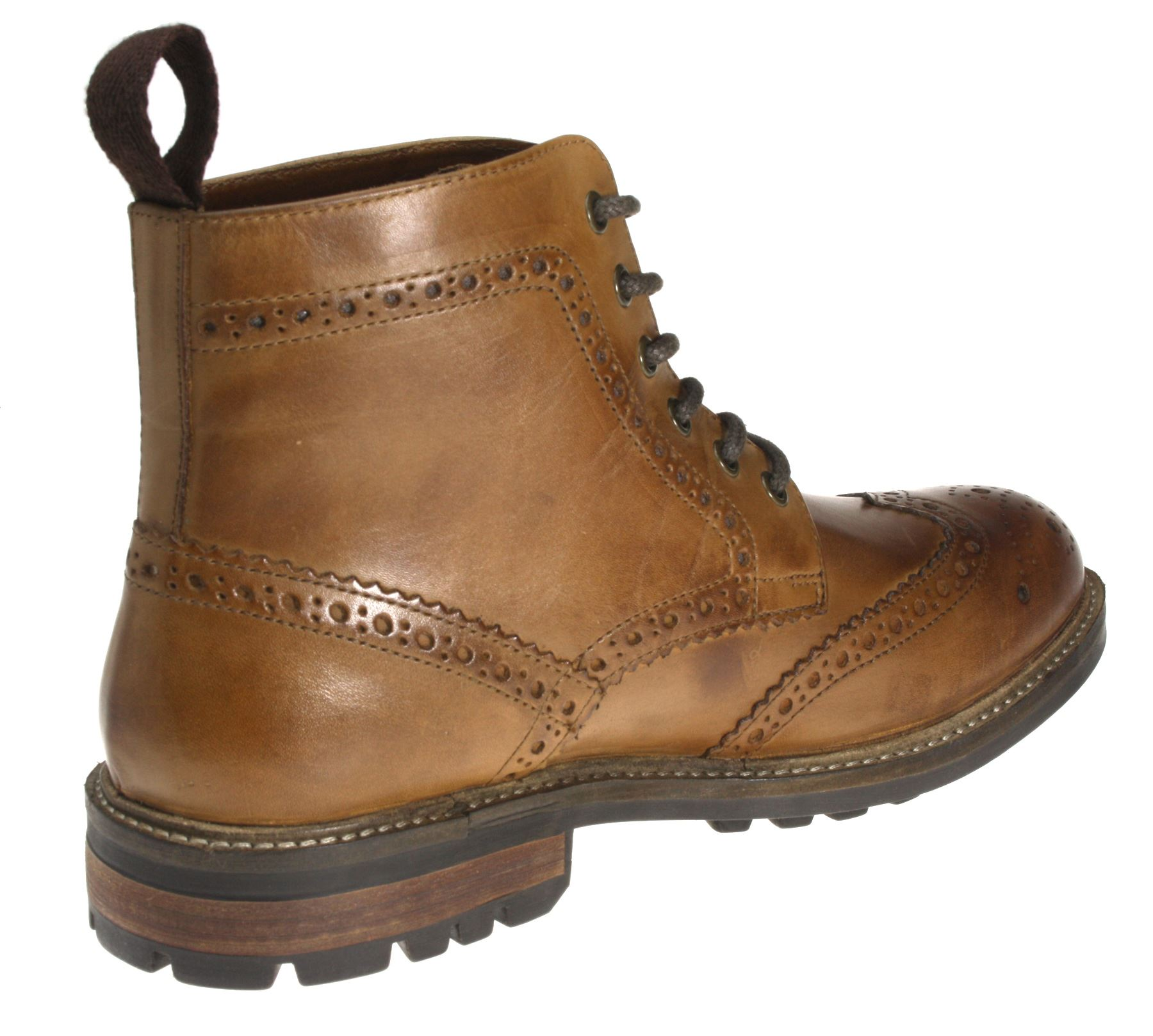 cd33bc77094 Red Tape Devlin High Quality Cleated Real Leather Lace Up Brogue Mens Boots