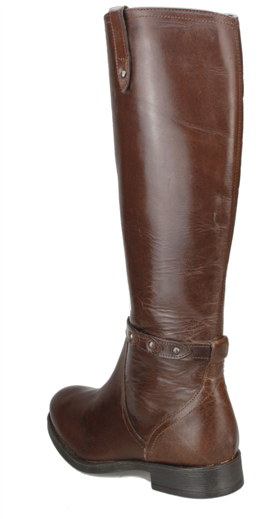 444e10175fa Ladies Real Leather Knee High Low Heel Flat Zip Biker Riding Style ...