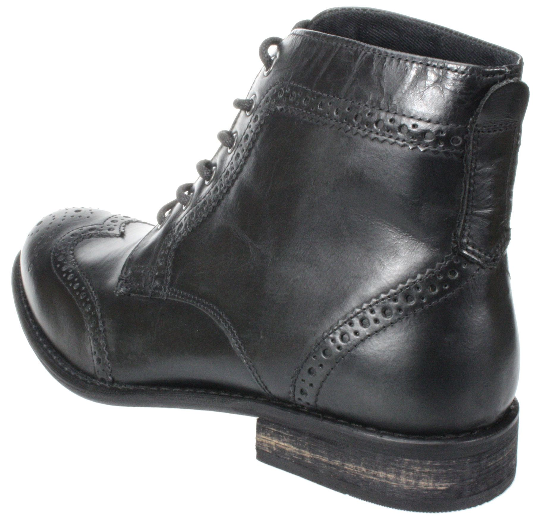 65f03731 Details about Mens Red tape Nant black brown lace up leather brogue ankle  boots High Quality