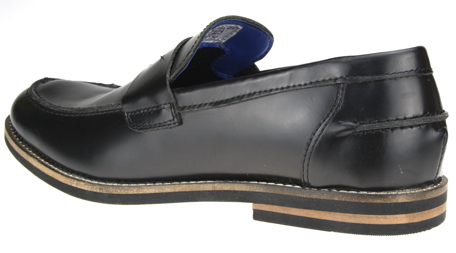 1bb27210ab0955 Red-Tape-Real-Leather-Mens-Loafers-Black-Rubbed-