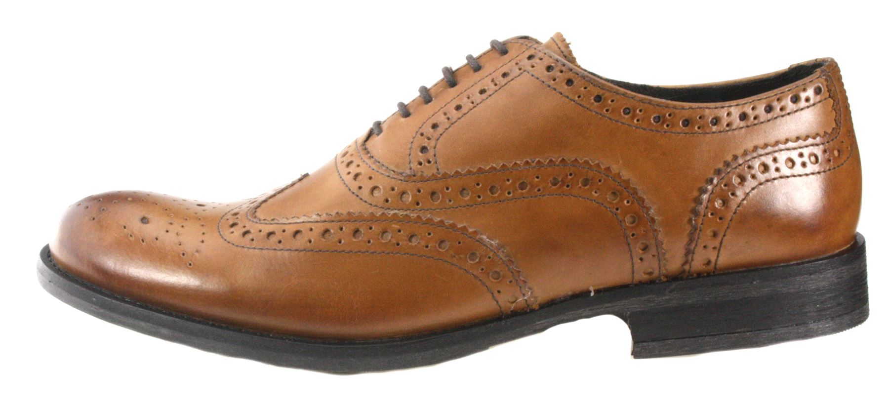 4977d388f01b Base London Mens Brogue lace up Tan Brown and Black Leather Formal ...