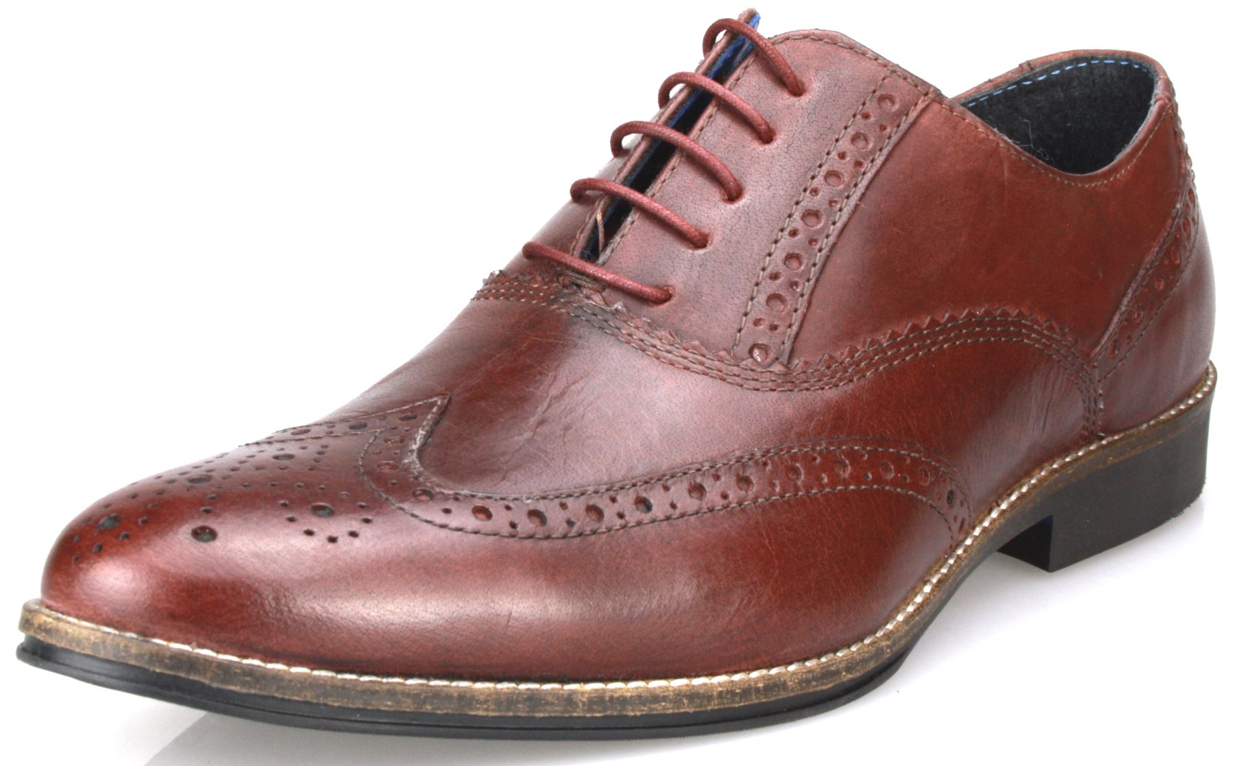 Red Tape Mens Leather Formal Brogues Lace Up Shoes in Tan Burgandy ... 466cec9da343