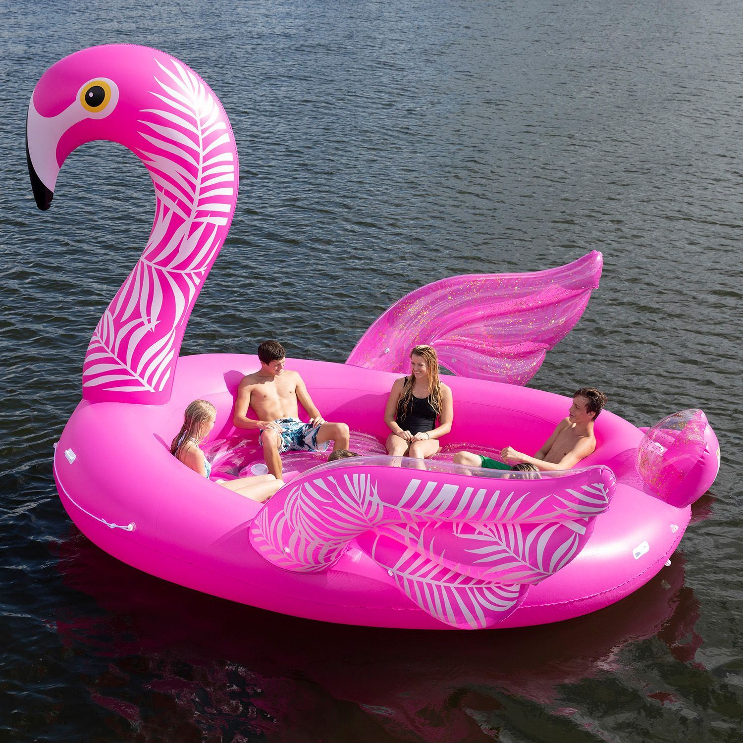 Party Island Beach: Big Inflatable 6 Person Party Island Water Float Lounge