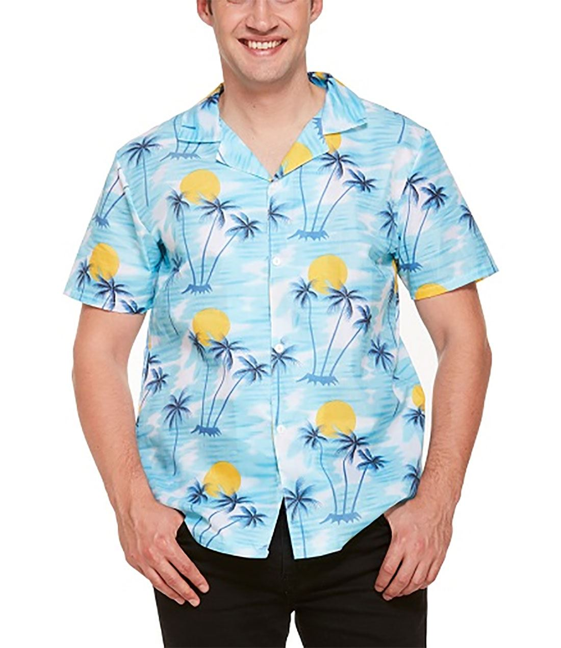 2124f98c885 Adults Tropical Hawaiian Sunset Print Shirt Men Stag Party Fancy ...