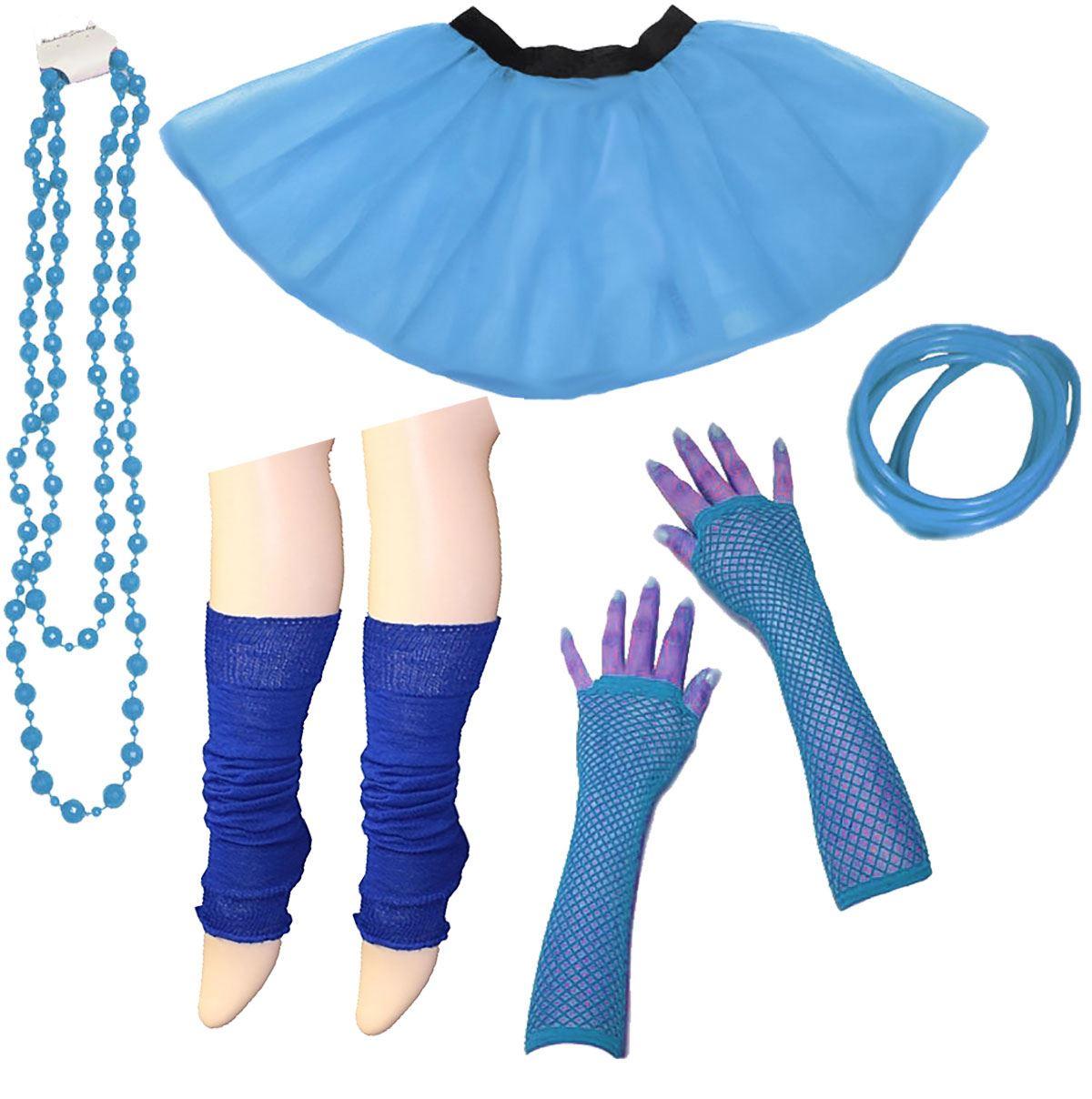 80s Neon UV Tutu Skirt Leg Warmer Gummies Beads Set Hen Party Fancy ...