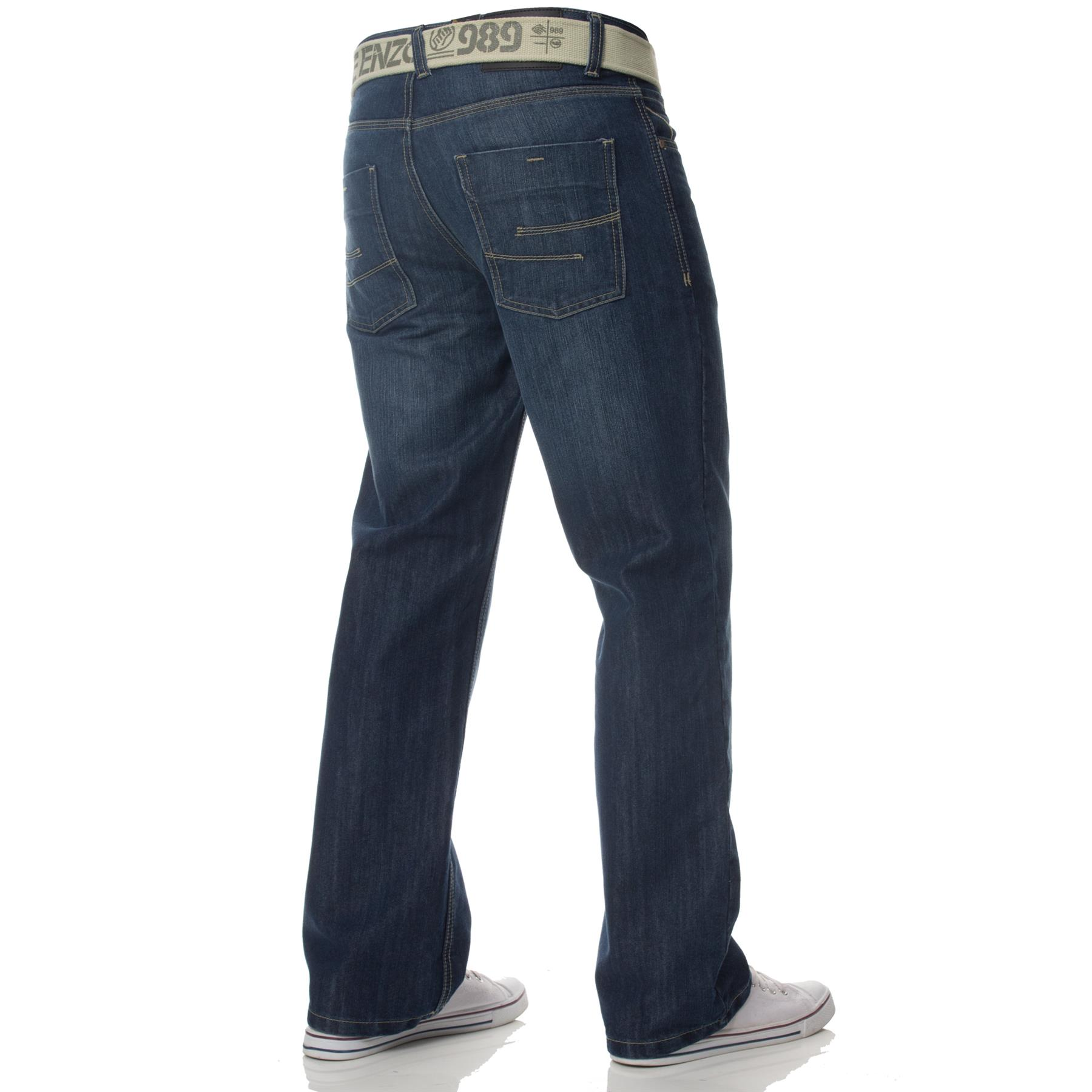 Enzo-Mens-Jeans-Big-Tall-Leg-King-Size-Denim-Pants-Chino-Trousers-Waist-44-034-60-034 miniature 11