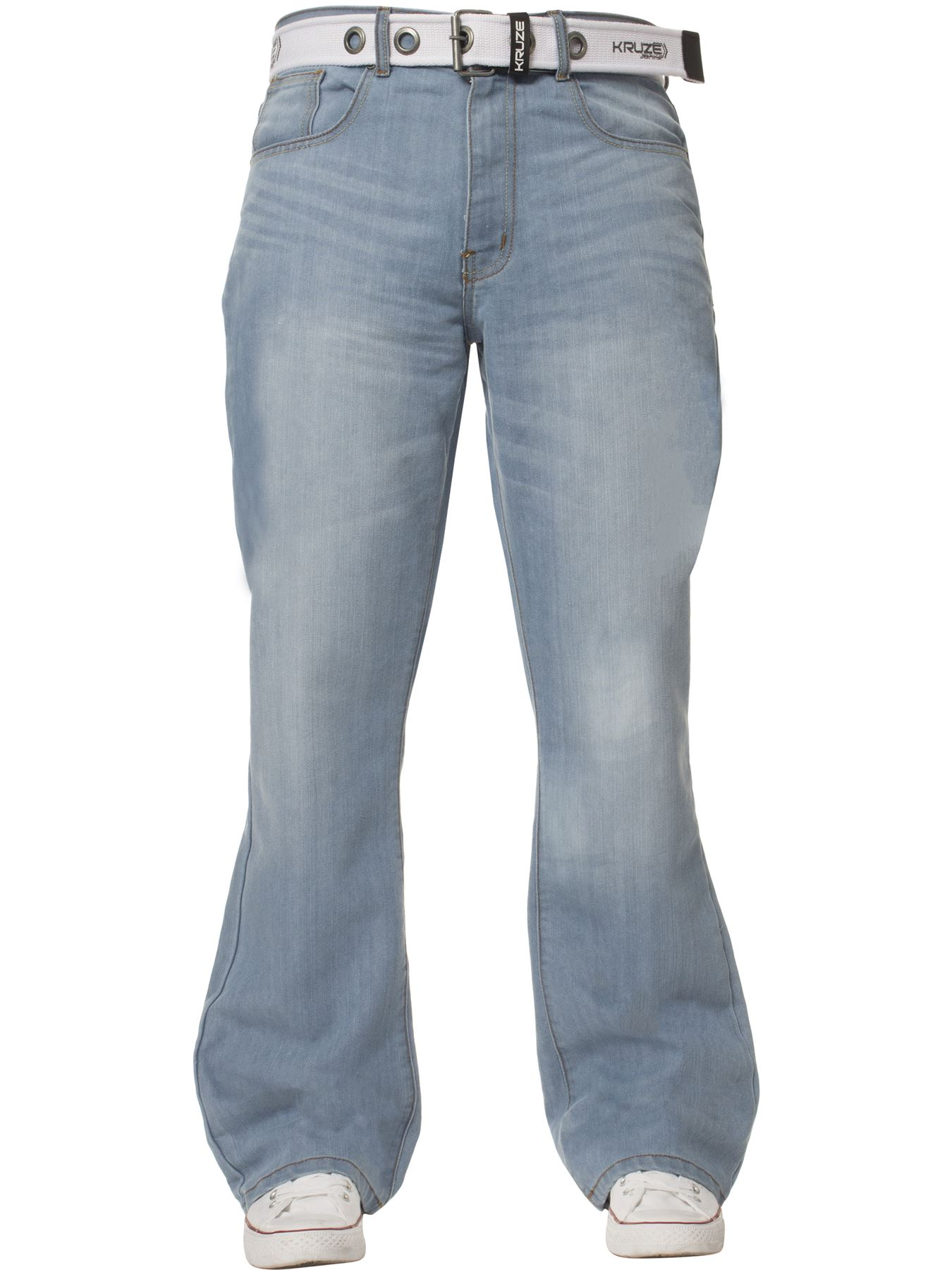 Kruze-Denim-New-Mens-Bootcut-Jeans-Wide-Leg-Flare-Pants-King-Big-All-Waist-Sizes thumbnail 18