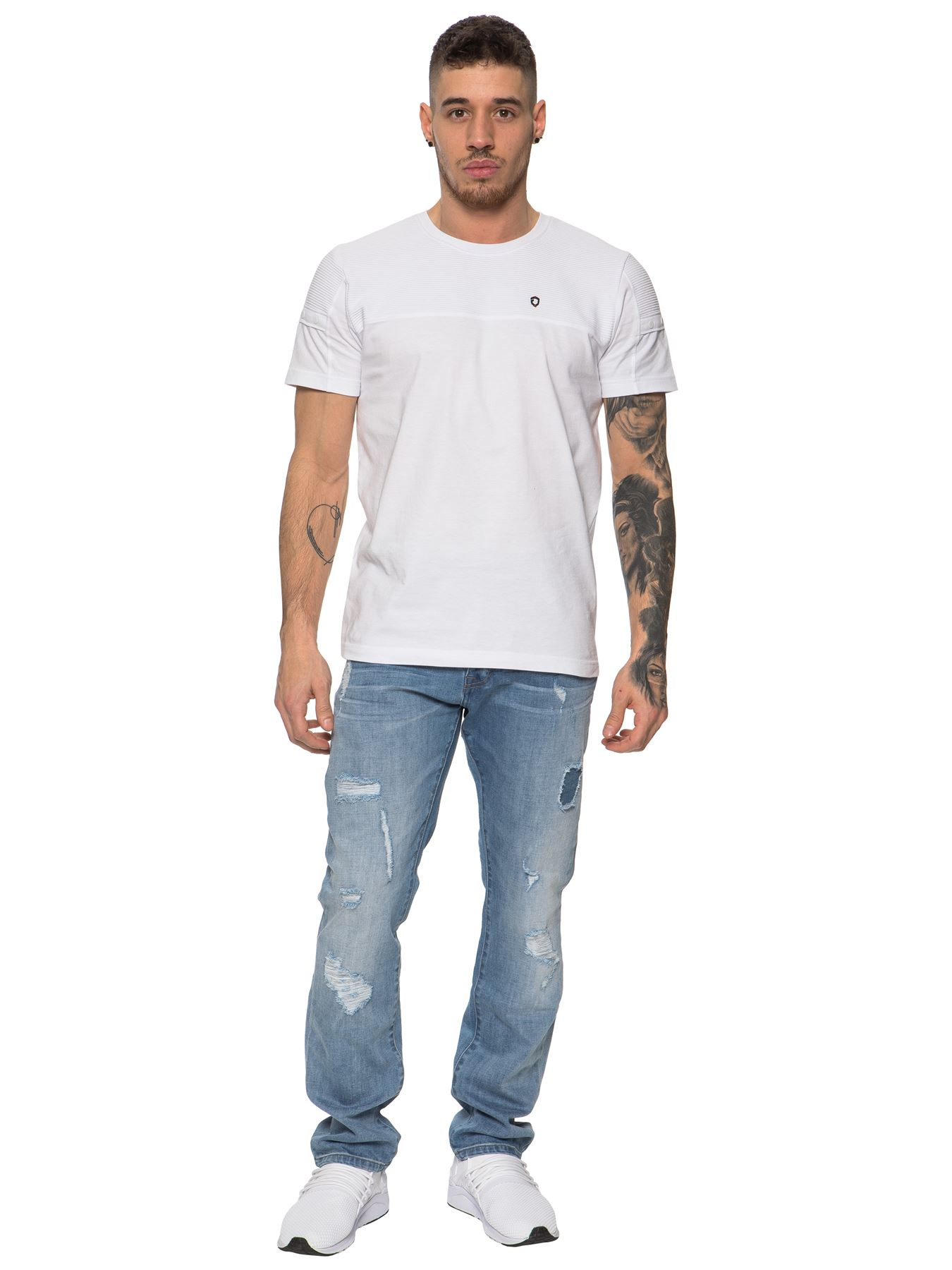 ETO-Designer-Mens-Ripped-Blue-Jeans-Distressed-Denim-Tapered-Fit-Trousers-Pants thumbnail 13