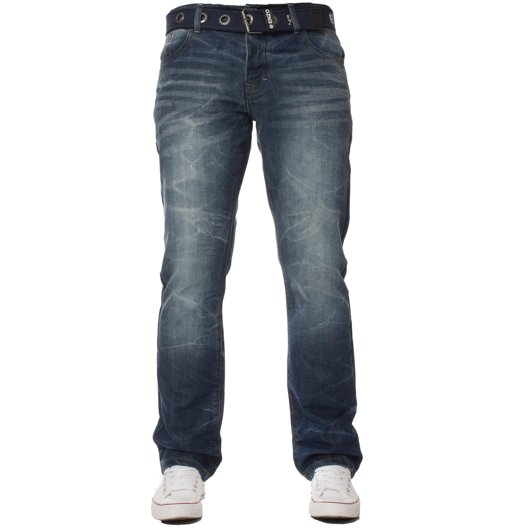 Enzo-Mens-Jeans-Big-Tall-Leg-King-Size-Denim-Pants-Chino-Trousers-Waist-44-034-60-034 miniature 71