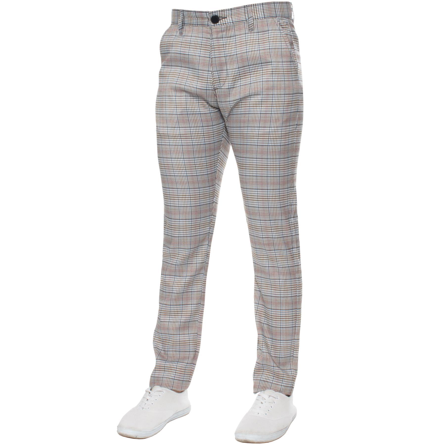 Para-Hombre-a-Cuadros-Pantalones-Slim-Fit-Smart-Casual-Elastico-Suave-Oficina-de-Trabajo-Pantalones miniatura 3