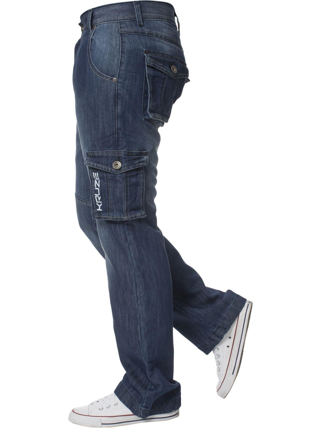 Grandes-jeans-para-hombre-de-combate-de-Kruze-Rey-Alto-Pierna-Cargo-Pantalones-Jeans-Pantalones miniatura 5
