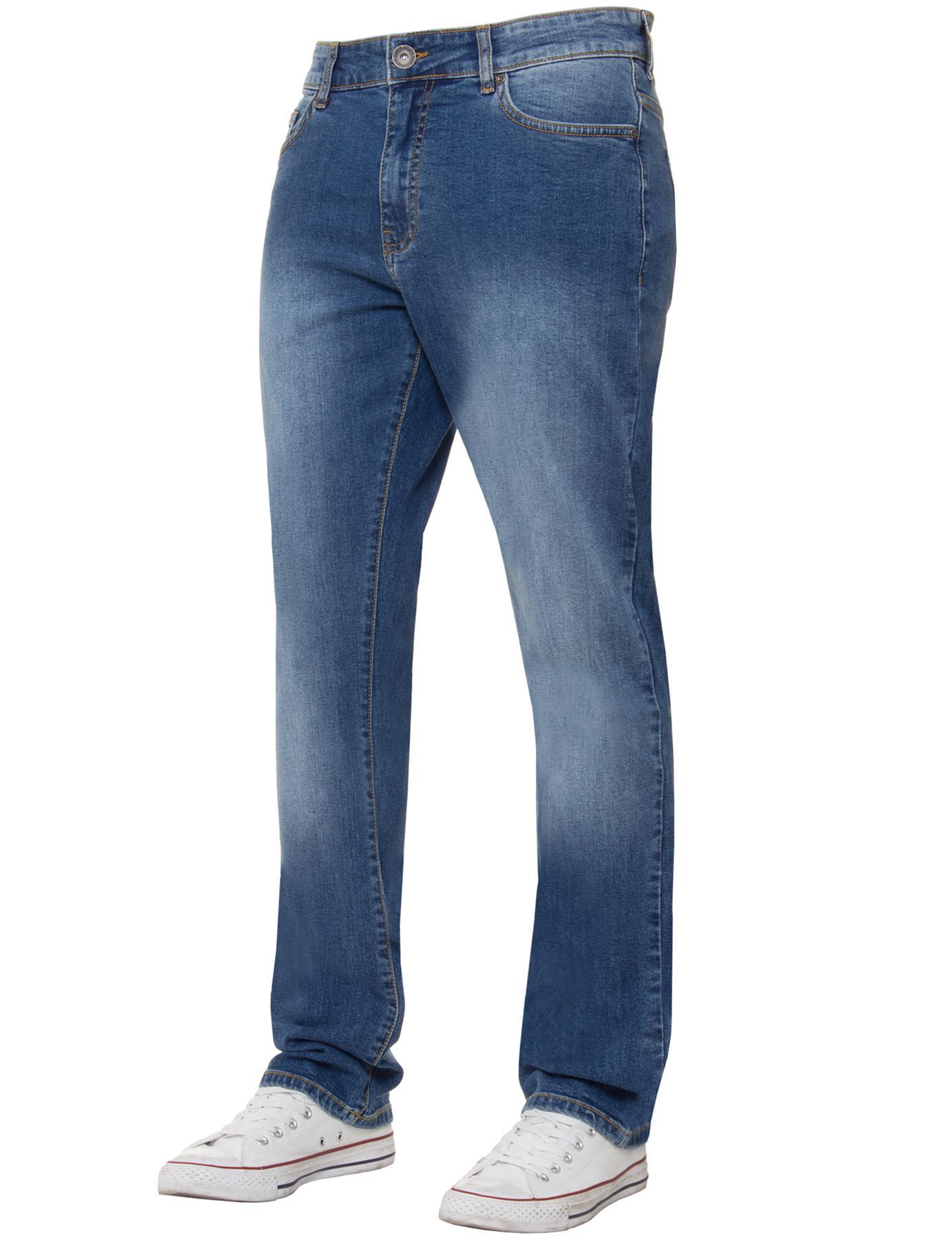 Para-Hombre-Pierna-Recta-Bootcut-Stretch-Denim-Regulares-Pantalon-de-trabajo-Kruze-Todas-Cinturas miniatura 9