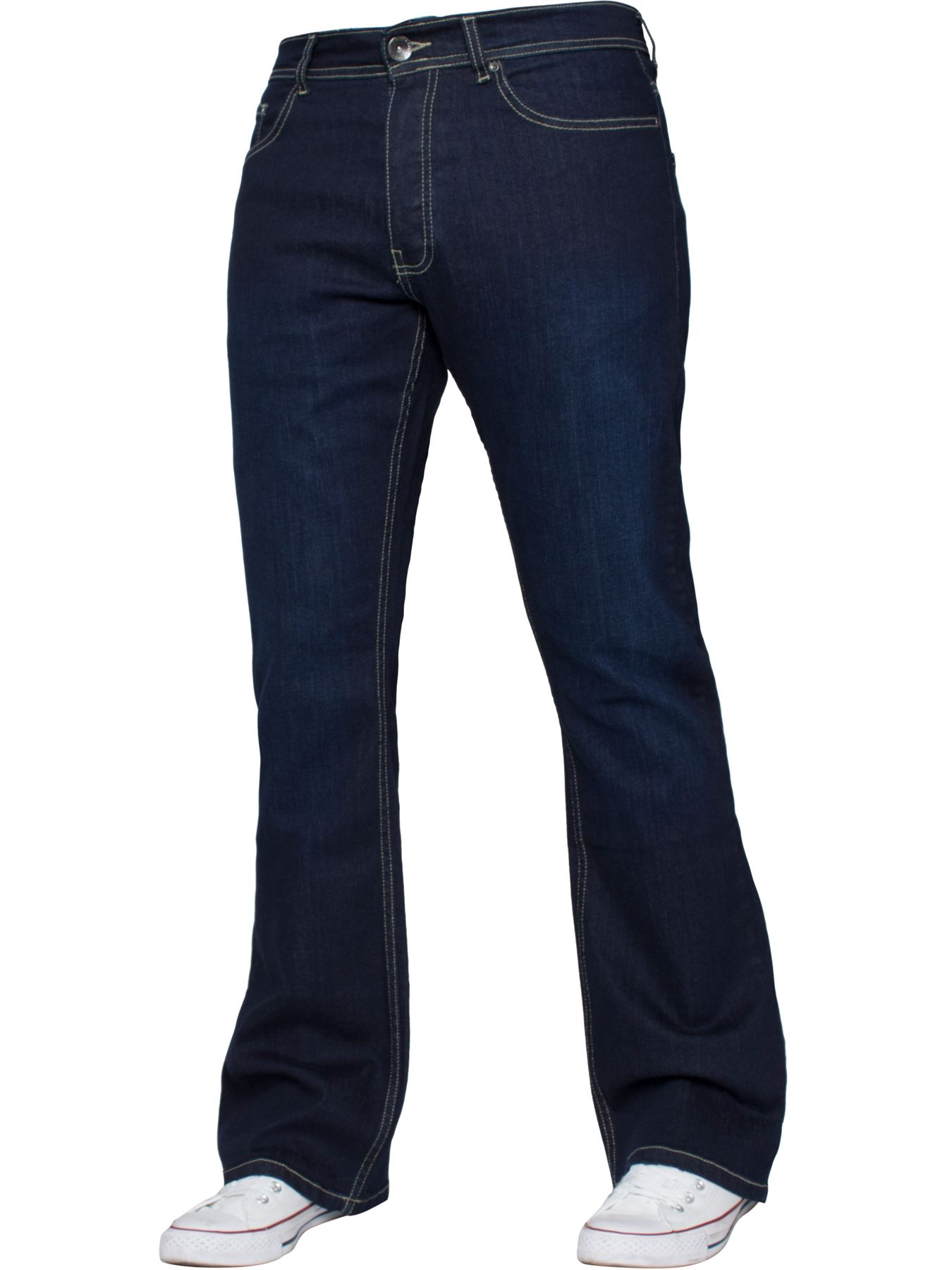 Kruze-Mens-Basic-Straight-Leg-Bootcut-Stretch-Jeans-Denim-Regular-Big-Tall-Waist thumbnail 55