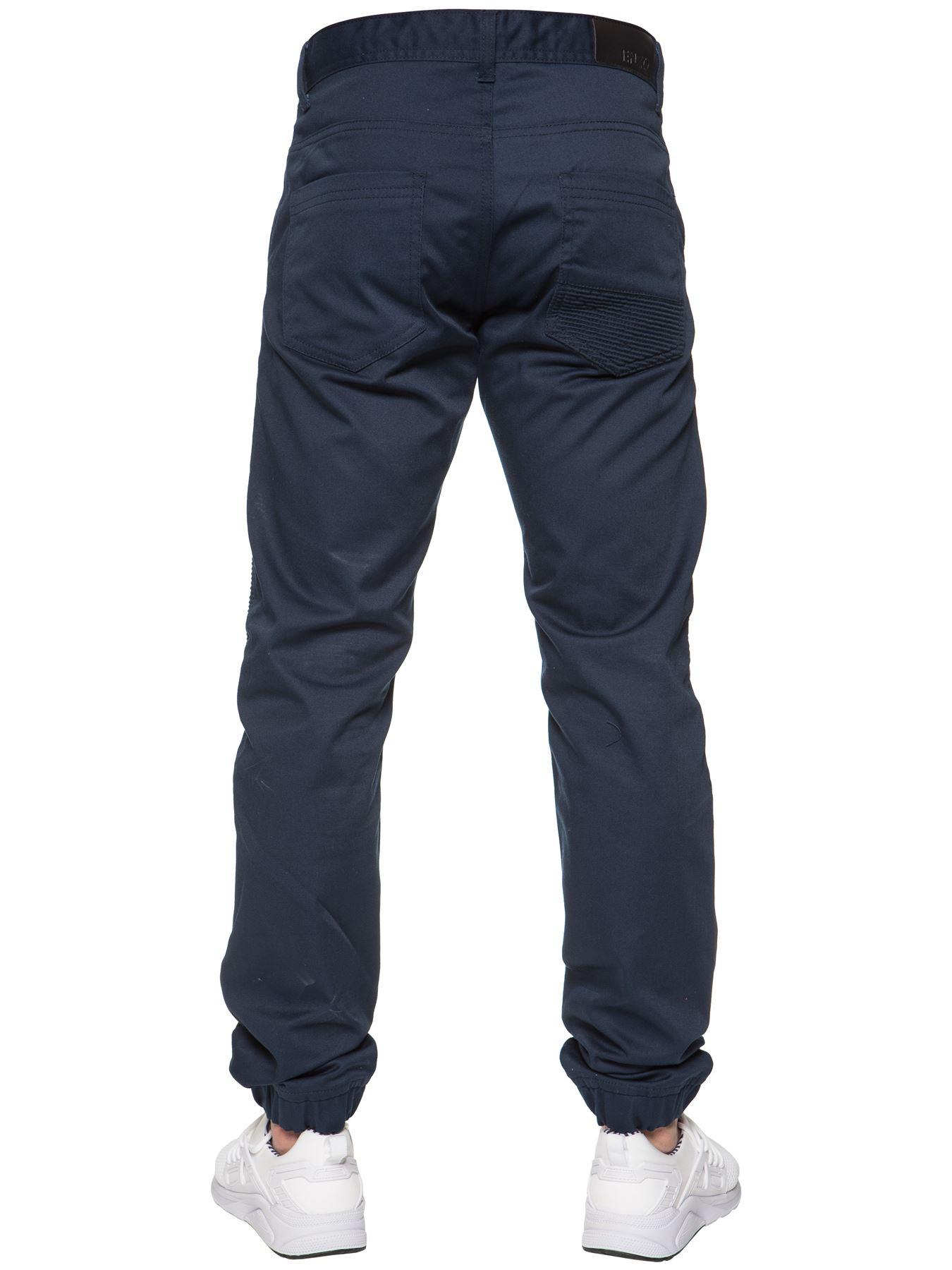 Enzo-Designer-Mens-Cuffed-Chinos-Biker-Jeans-Slim-Denim-Trousers-Pants-Joggers thumbnail 8