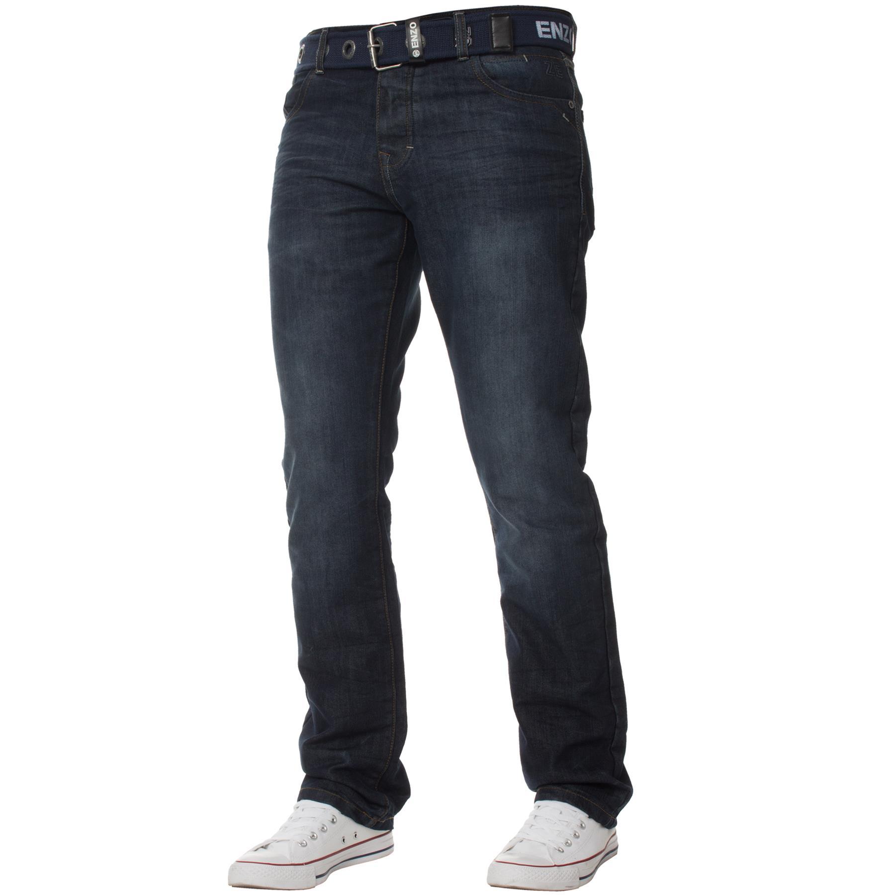 Enzo-Mens-Big-Tall-Jeans-Leg-King-Size-Denim-Pants-Chino-Trousers-Pants-44-034-60-034 thumbnail 80