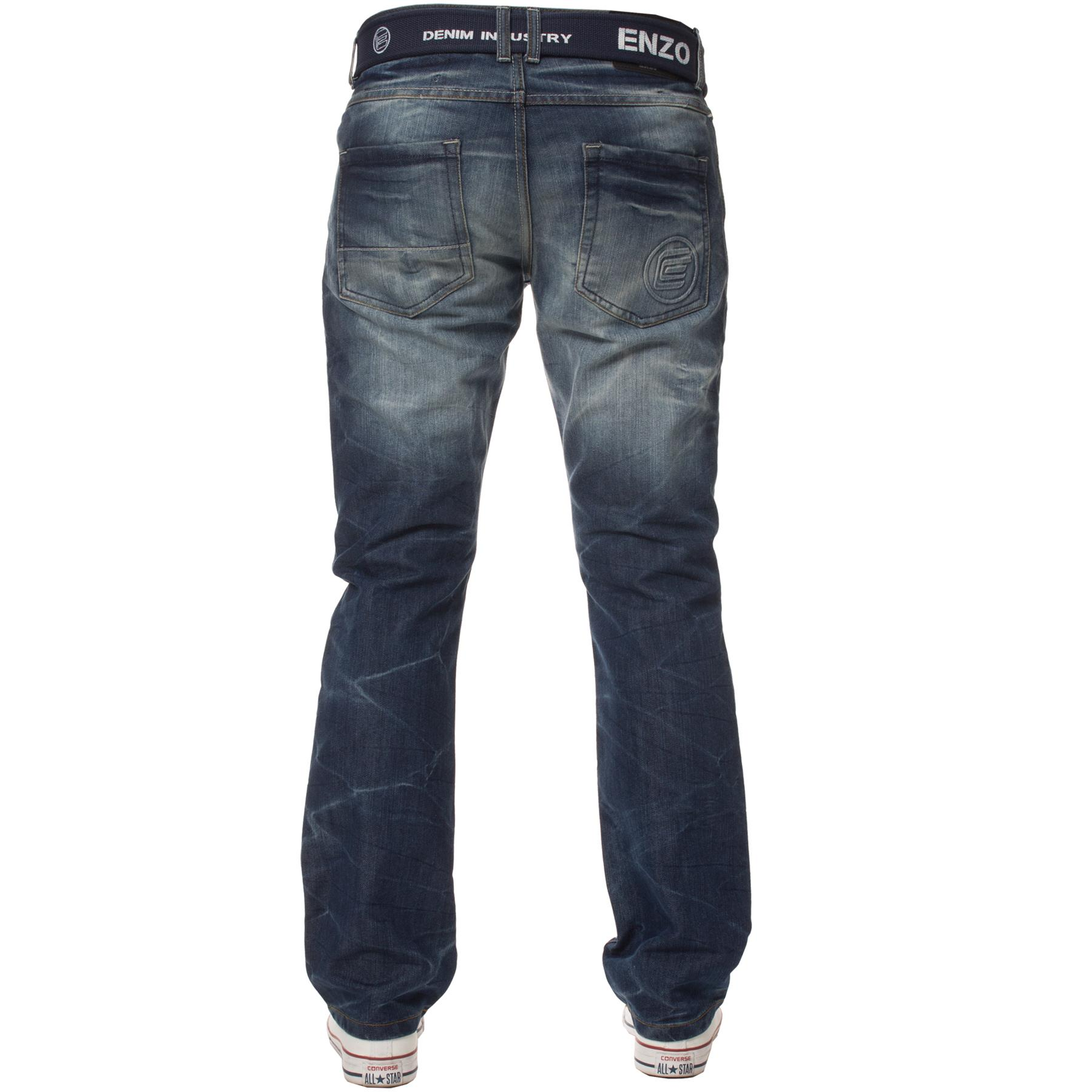 Enzo-Mens-Jeans-Big-Tall-Leg-King-Size-Denim-Pants-Chino-Trousers-Waist-44-034-60-034 miniature 72