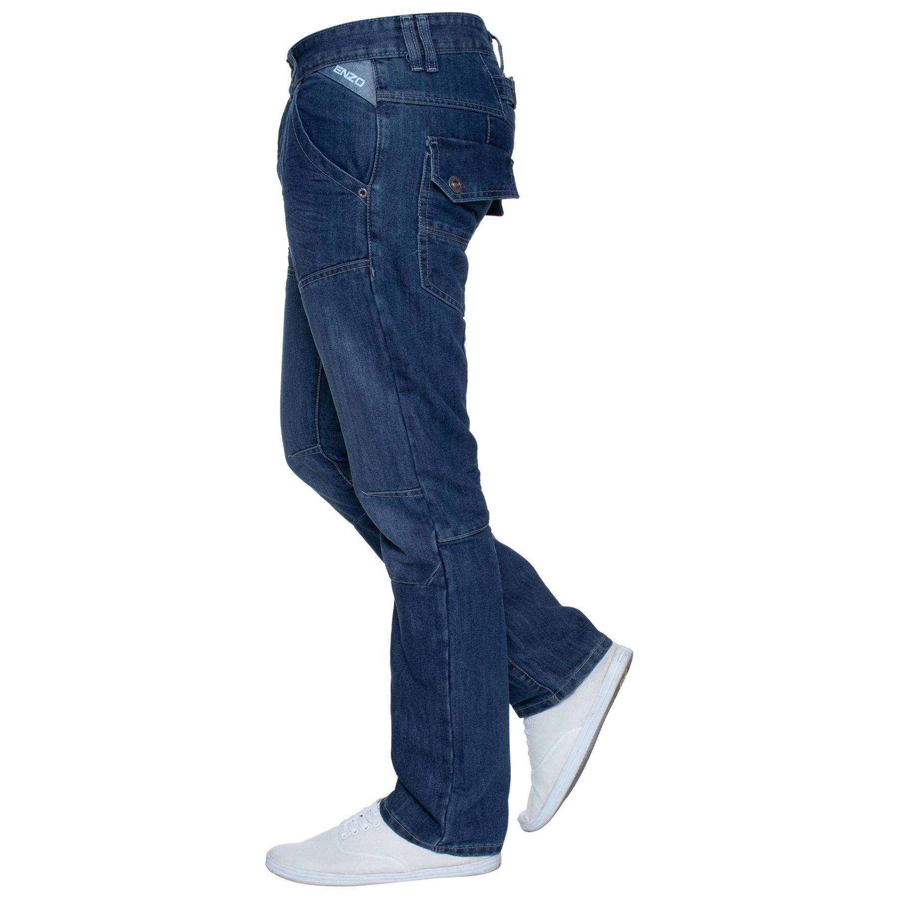 Enzo-Mens-Jeans-Big-Tall-Leg-King-Size-Denim-Pants-Chino-Trousers-Waist-44-034-60-034 miniature 99
