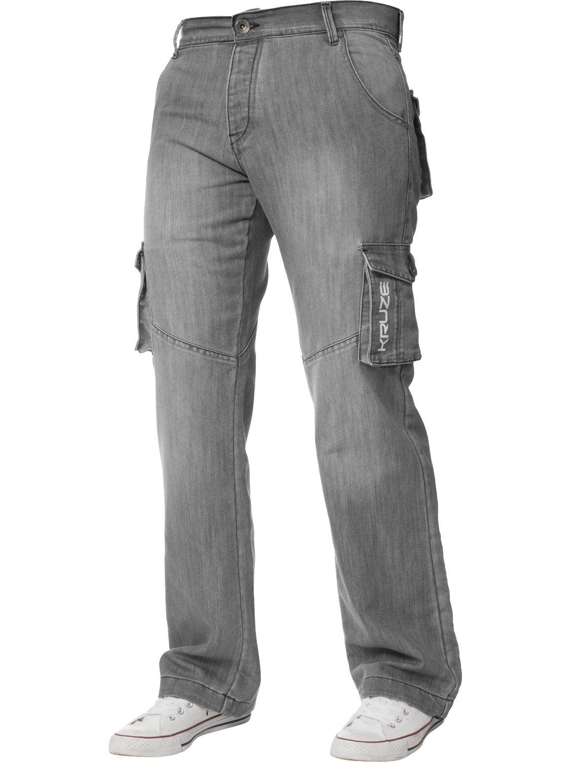Grandes-jeans-para-hombre-de-combate-de-Kruze-Rey-Alto-Pierna-Cargo-Pantalones-Jeans-Pantalones miniatura 22