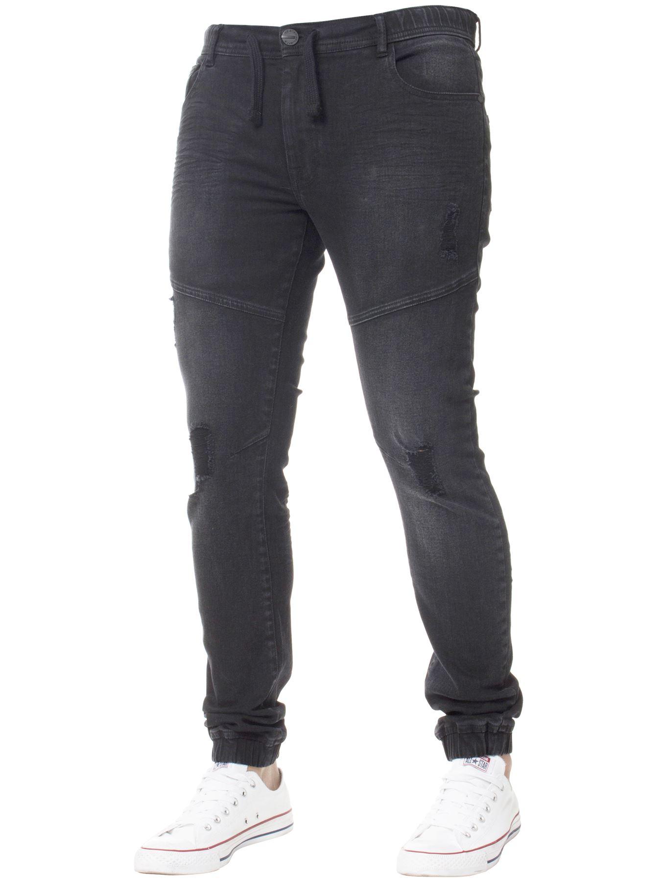 Enzo-Mens-Cuffed-Jeans-Stretch-Fit-Ripped-Denim-Jogger-Pants-Big-Tall-All-Waists thumbnail 3