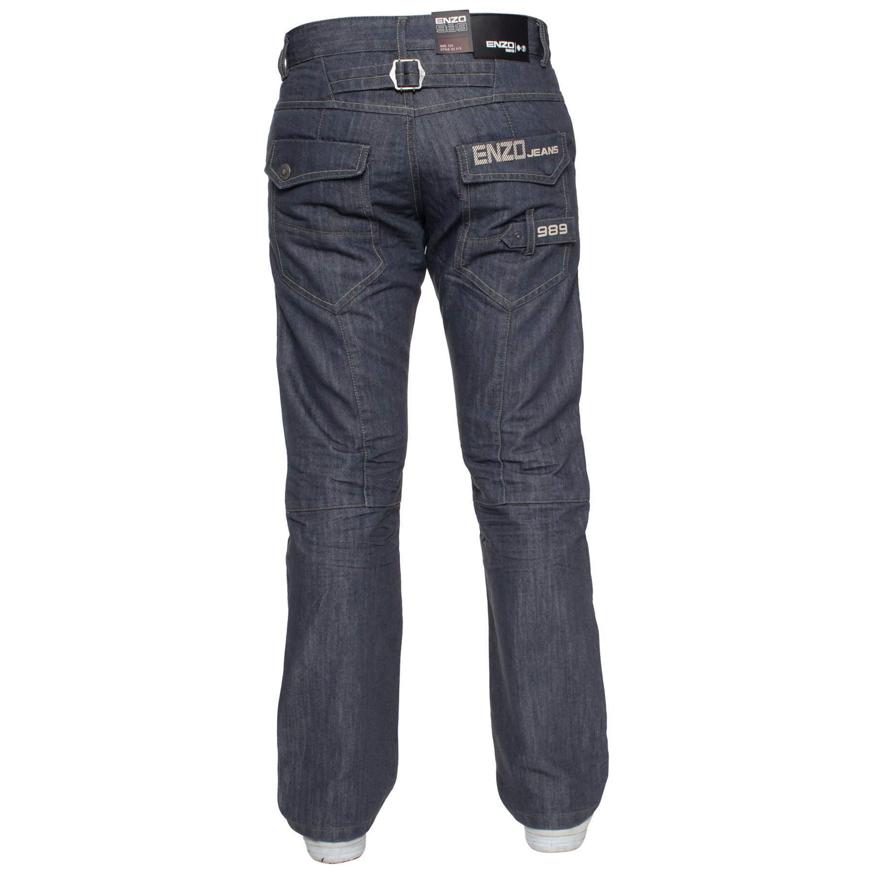 Enzo-Mens-Jeans-Big-Tall-Leg-King-Size-Denim-Pants-Chino-Trousers-Waist-44-034-60-034 miniature 91