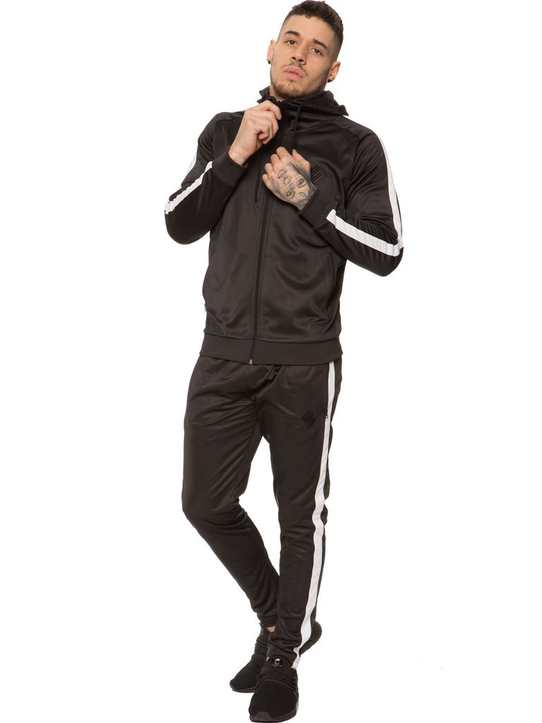 New-Enzo-Mens-Full-Tracksuit-Set-Slim-Fit-Zip-Up-Sweat-Hoodie-Jogging-Bottoms thumbnail 3