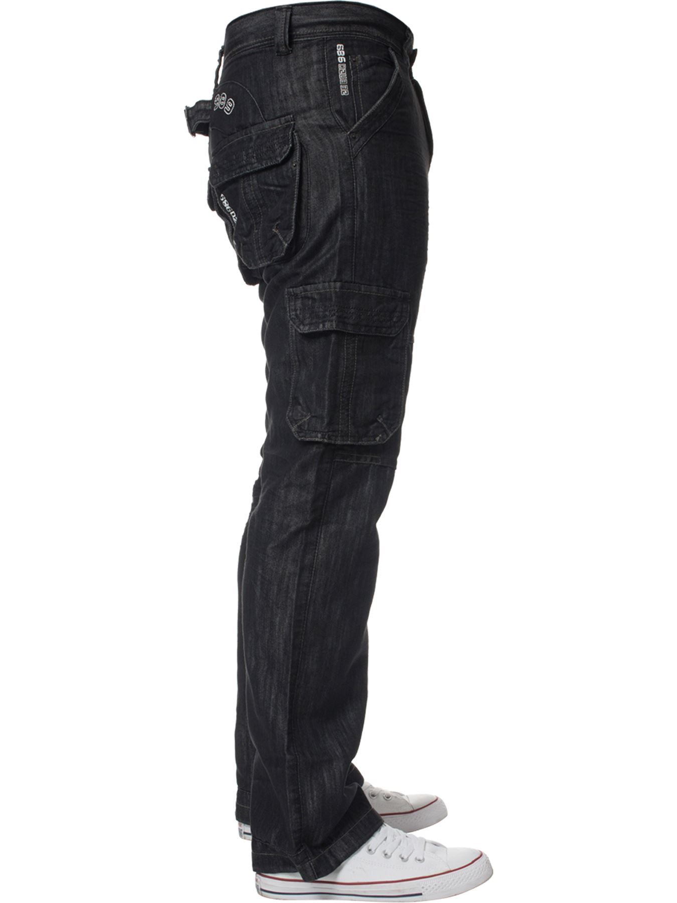 Enzo-Mens-Cargo-Combat-Trousers-Jeans-Work-Casual-Denim-Pants-Big-Tall-All-Waist thumbnail 6