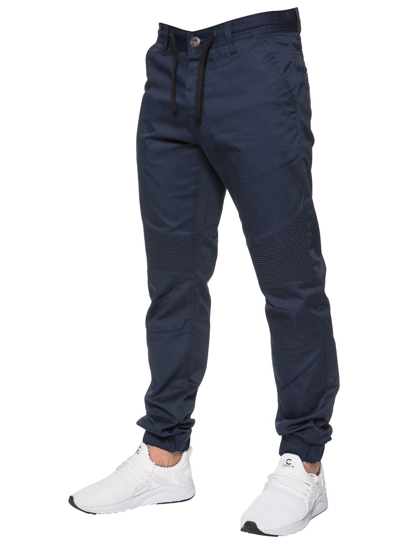Enzo-Designer-Mens-Cuffed-Chinos-Biker-Jeans-Slim-Denim-Trousers-Pants-Joggers thumbnail 7