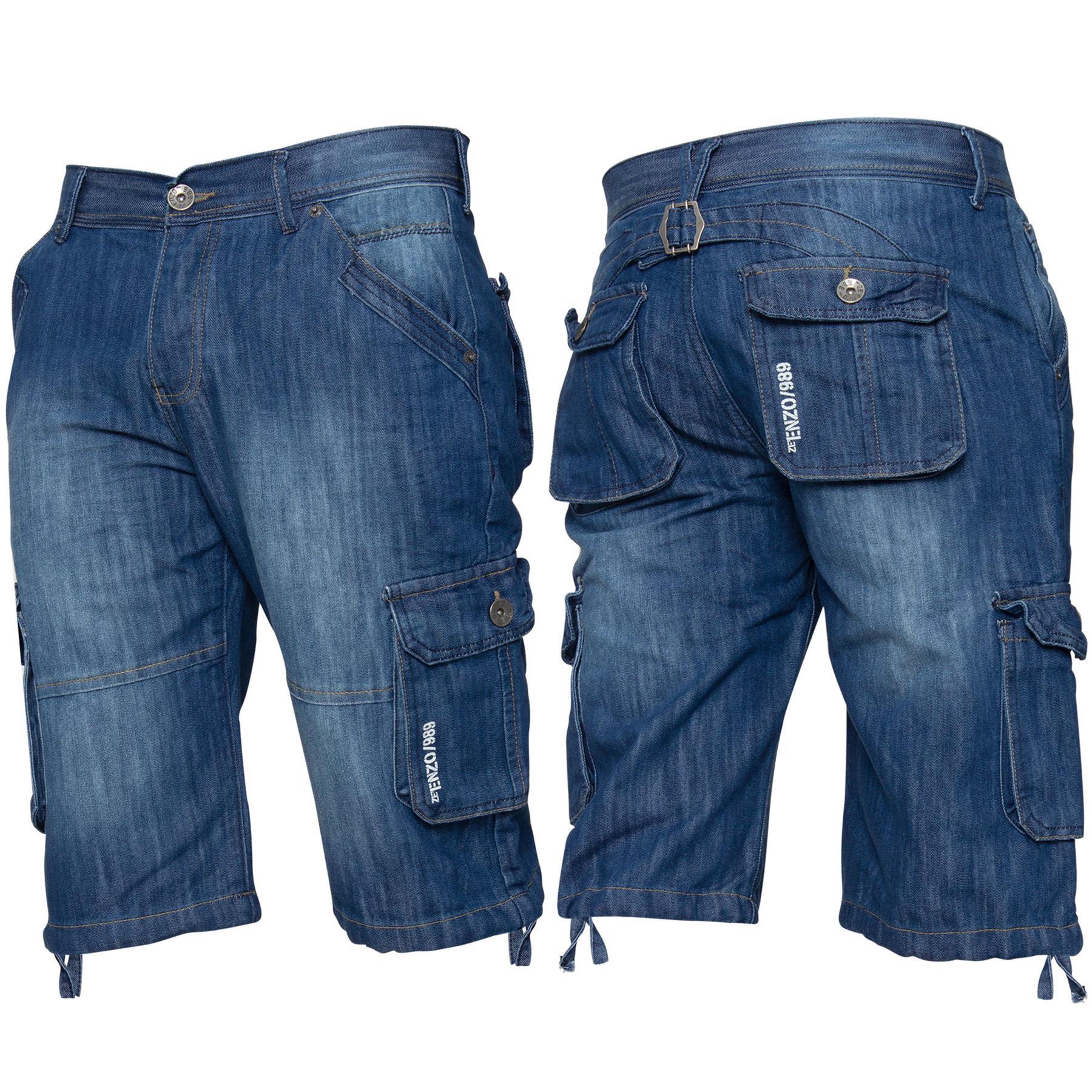 ENZO-Jeans-para-hombre-de-carga-combate-informal-de-verano-Shorts-Pantalones-Cortos-de-Jeans-Todas miniatura 7