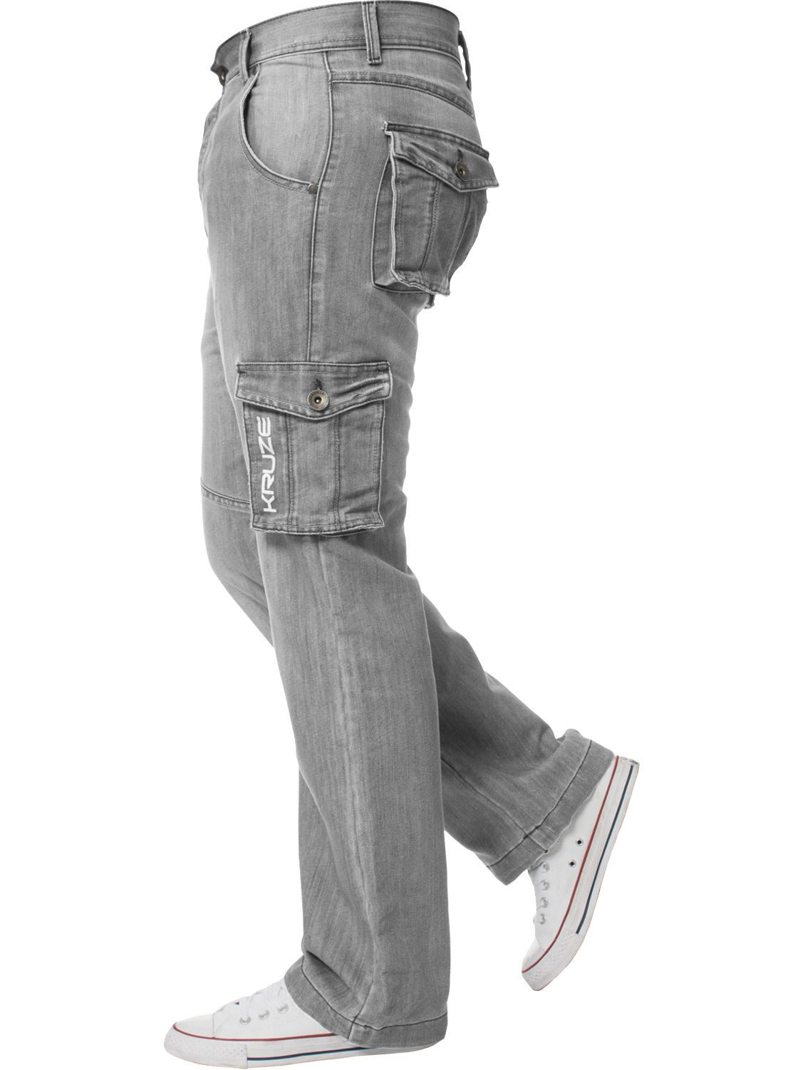 Kruze-Mens-Cargo-Combat-Jeans-Casual-Work-Denim-Pants-Big-Tall-All-Waist-Sizes thumbnail 30