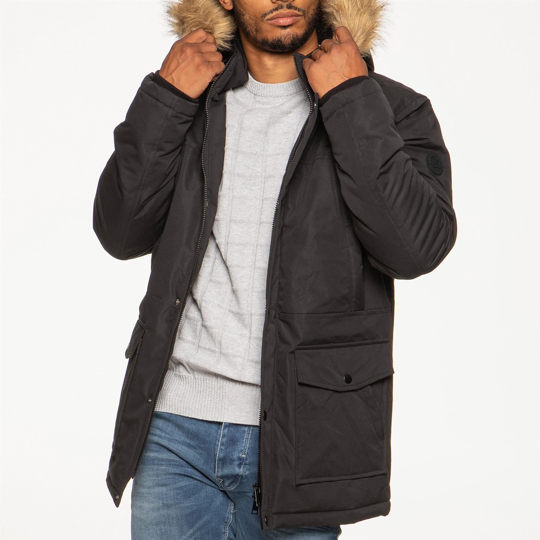 Mens-Parka-Jacket-Faux-Fur-Trimmed-Hooded-Winter-Warm-Long-Padded-Outerwear-Coat thumbnail 4