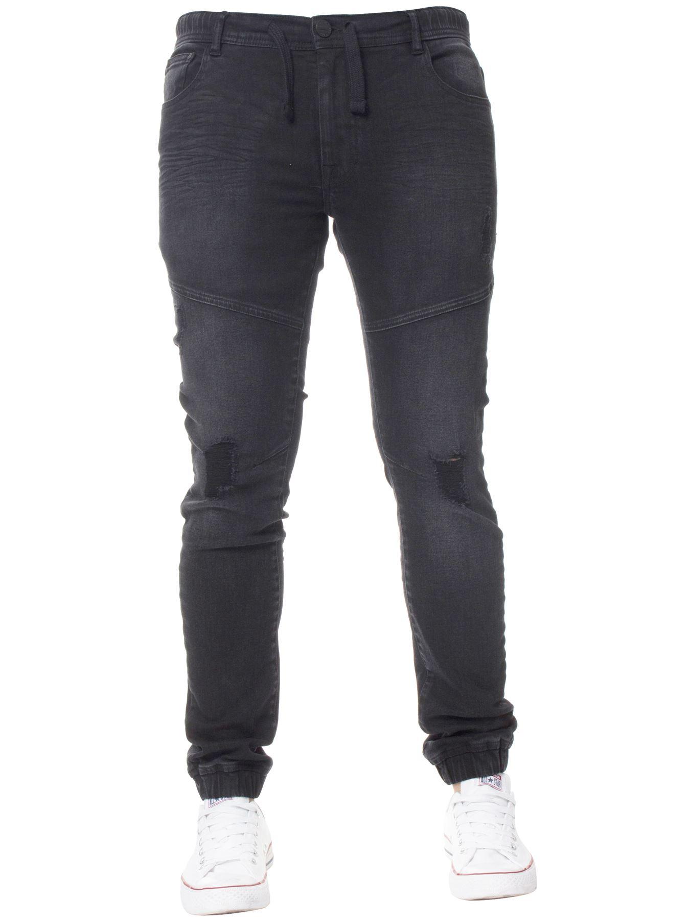 Enzo-Mens-Cuffed-Jeans-Stretch-Fit-Ripped-Denim-Jogger-Pants-Big-Tall-All-Waists thumbnail 5