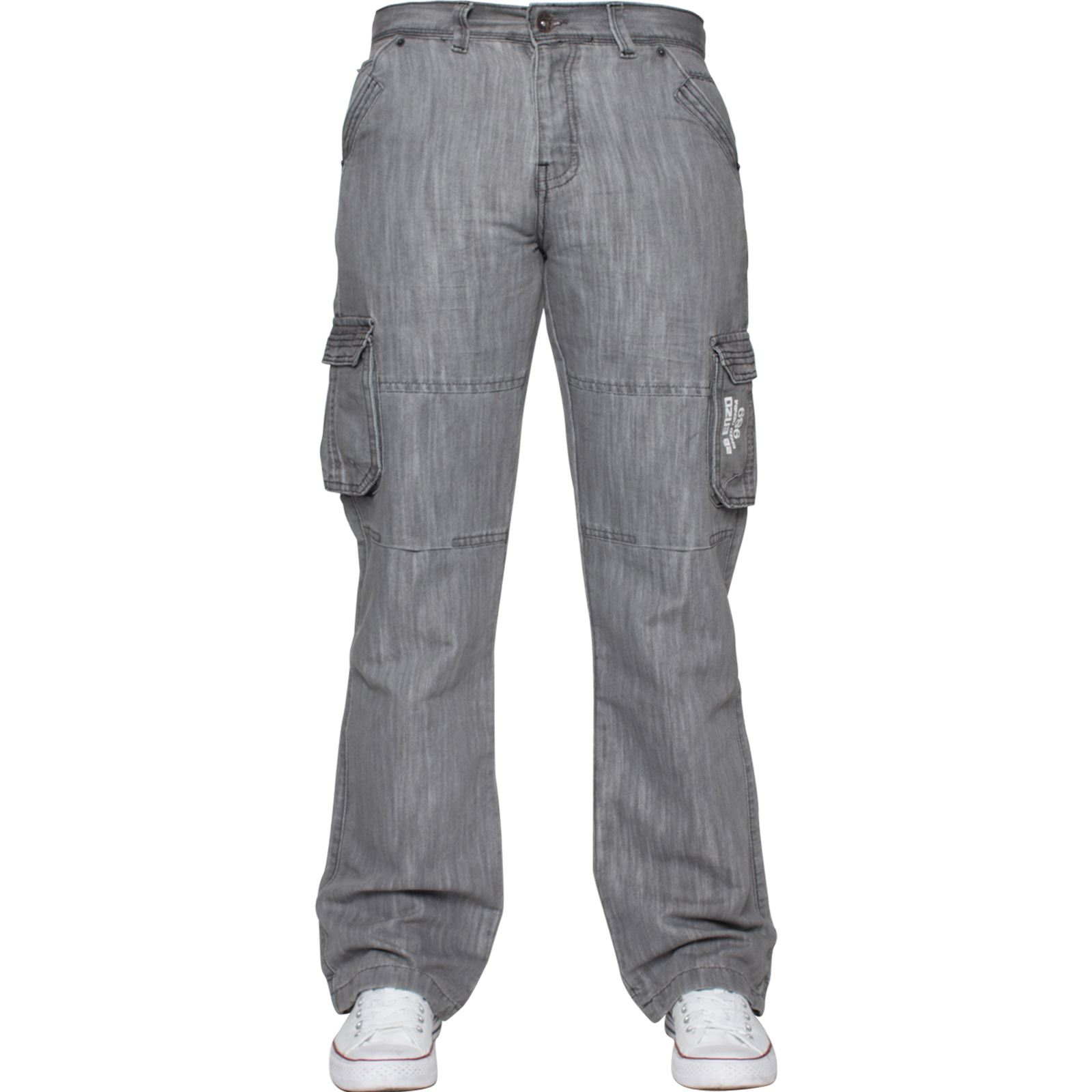 Enzo-Mens-Cargo-Combat-Trousers-Jeans-Work-Casual-Denim-Pants-Big-Tall-All-Waist thumbnail 26