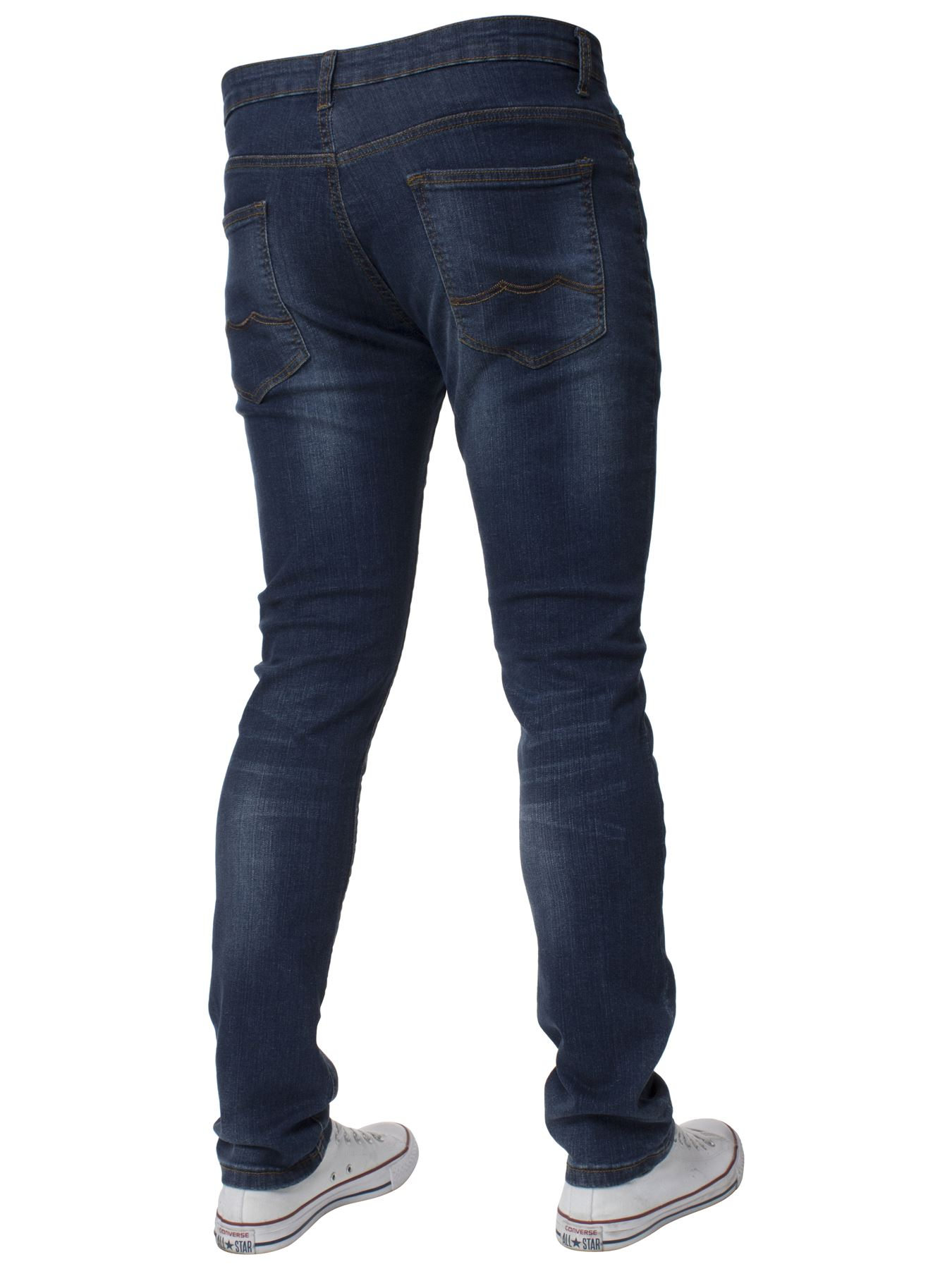 Mens-Skinny-Stretch-Jeans-Slim-Fit-Flex-Denim-Trousers-Pants-King-Sizes-by-Kruze thumbnail 11