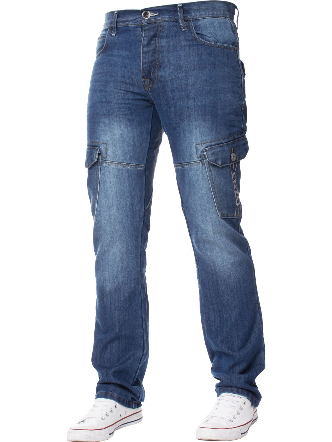 Enzo-Designer-Mens-Regular-Fit-Jeans-Straight-Leg-Denim-Trousers-Pants-All-Waist thumbnail 11