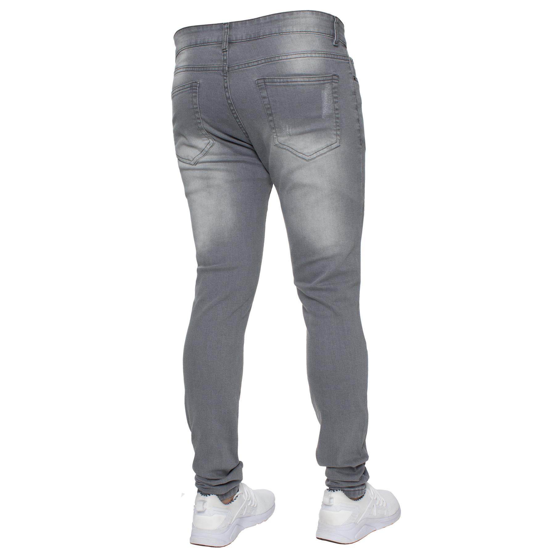 Para-hombre-Super-Skinny-Ripped-Jeans-Pantalones-Ajustados-desgastados-Denim-Envejecido-Todas miniatura 19