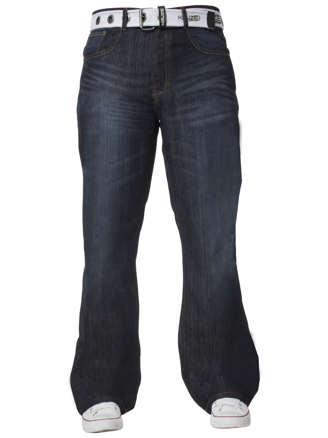 Kruze-Denim-New-Mens-Bootcut-Jeans-Wide-Leg-Flare-Pants-King-Big-All-Waist-Sizes thumbnail 12