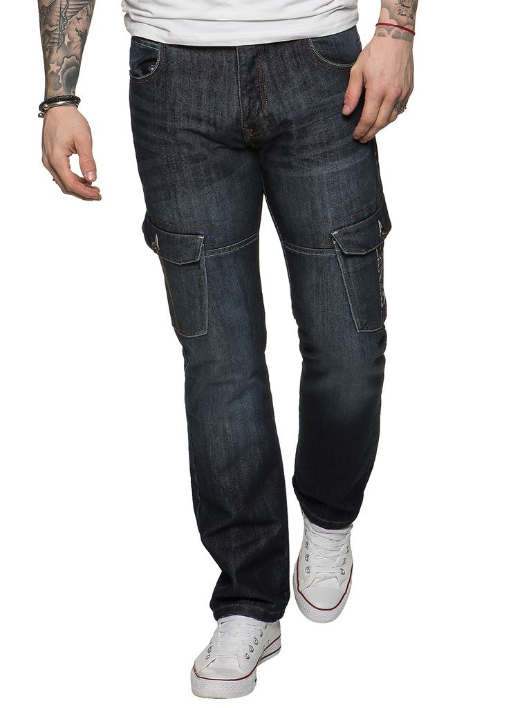 New-Enzo-Mens-Combat-Jeans-Cargo-Denim-Pants-Straight-Leg-Trousers-All-Waist thumbnail 10