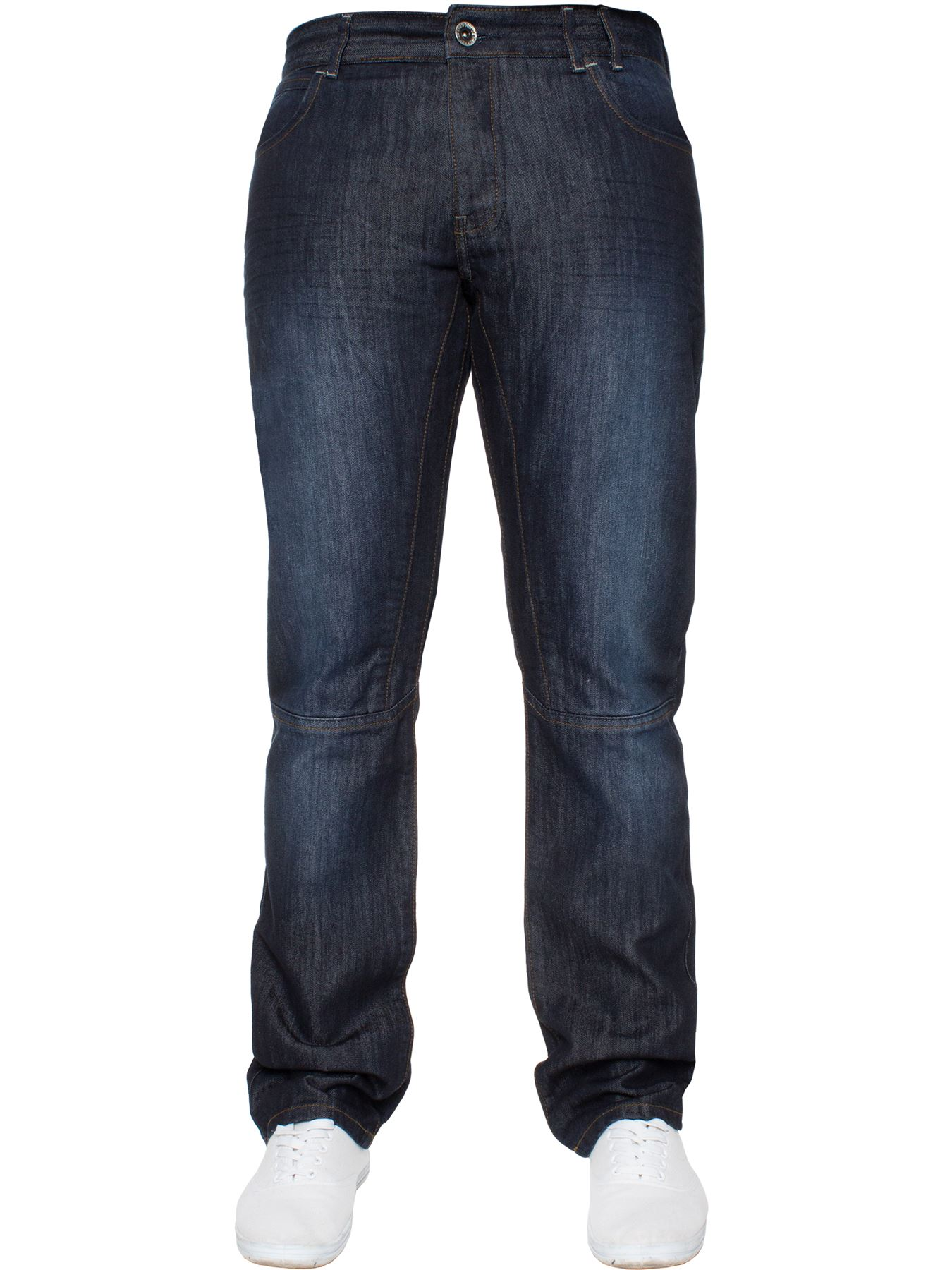 Enzo-Mens-Straight-Jeans-Regular-Leg-Designer-Work-Denim-Pants-All-Waists-Sizes thumbnail 37