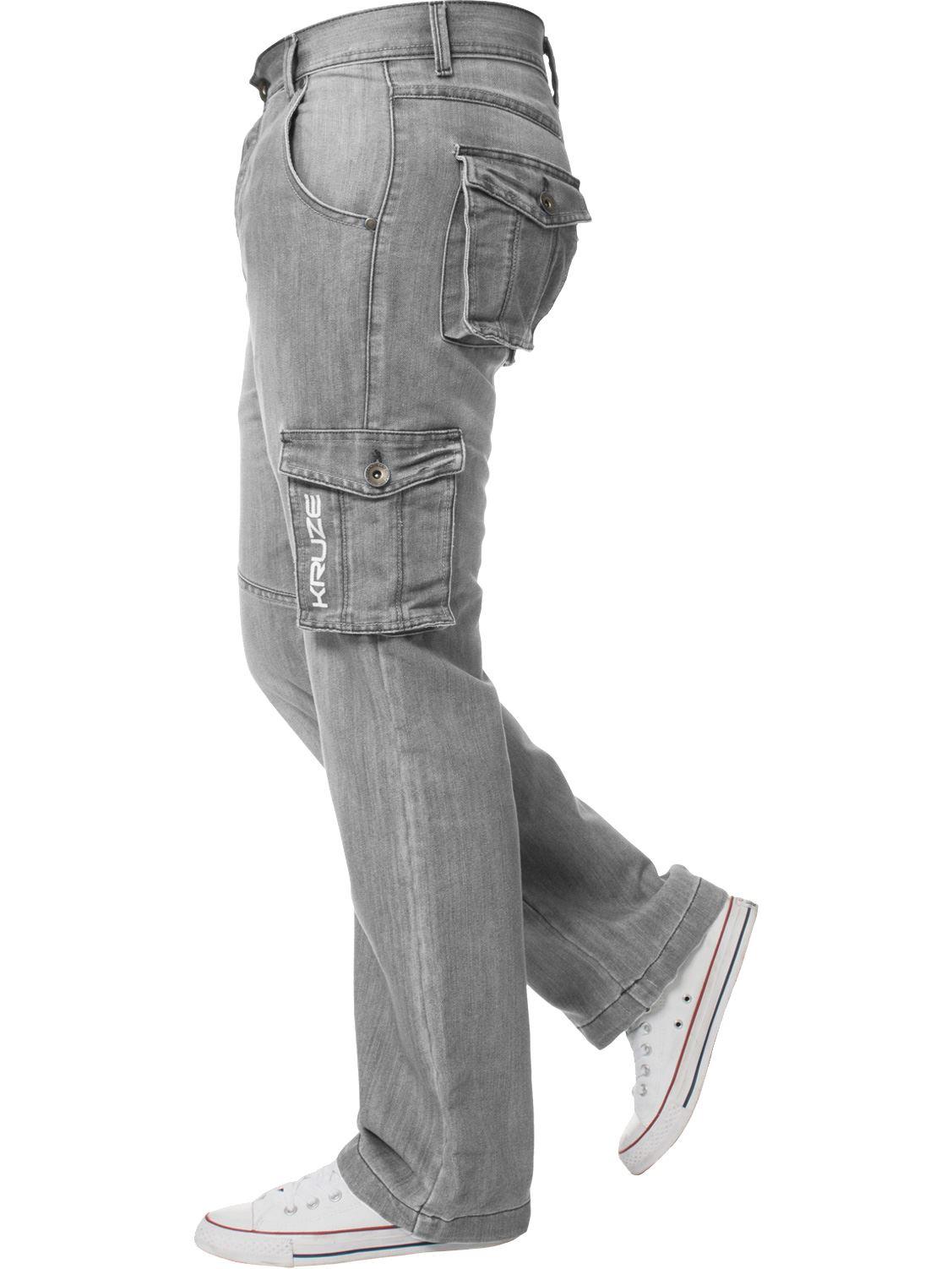 Grandes-jeans-para-hombre-de-combate-de-Kruze-Rey-Alto-Pierna-Cargo-Pantalones-Jeans-Pantalones miniatura 21