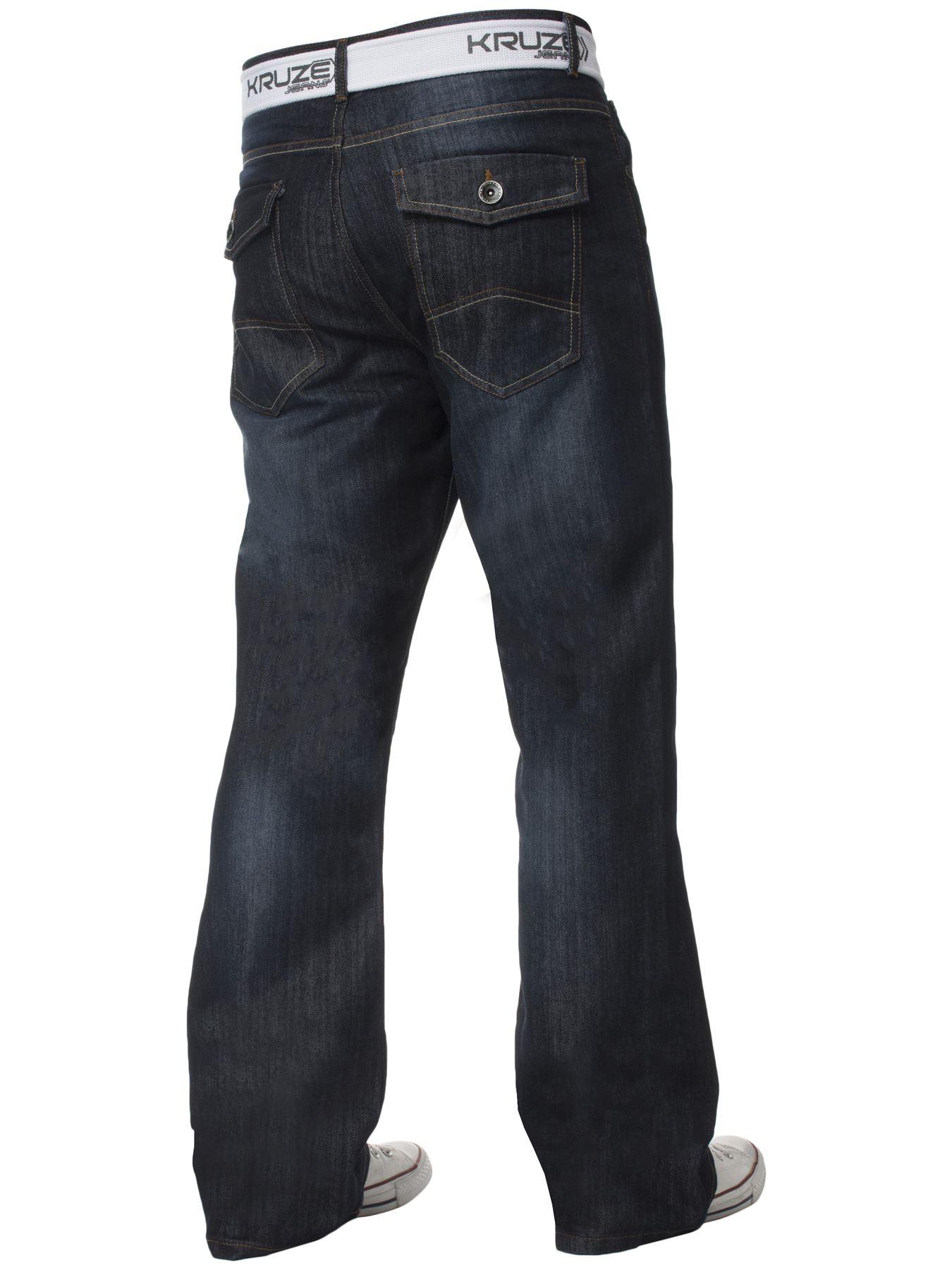 Kruze-Denim-Nuevo-Para-Hombre-Bootcut-Pierna-Ancha-Flare-Pantalones-Cintura-Tallas-Grandes-Rey-todos miniatura 11