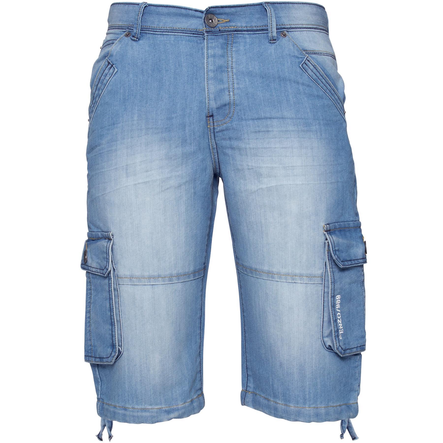 ENZO-Jeans-para-hombre-de-carga-combate-informal-de-verano-Shorts-Pantalones-Cortos-de-Jeans-Todas miniatura 11