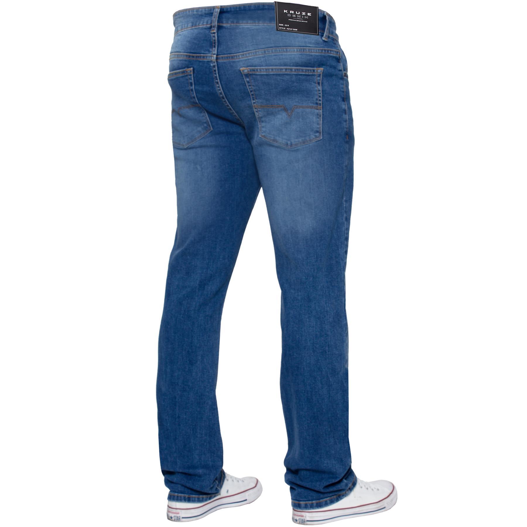 Para-Hombre-Pierna-Recta-Bootcut-Stretch-Denim-Regulares-Pantalon-de-trabajo-Kruze-Todas-Cinturas miniatura 10