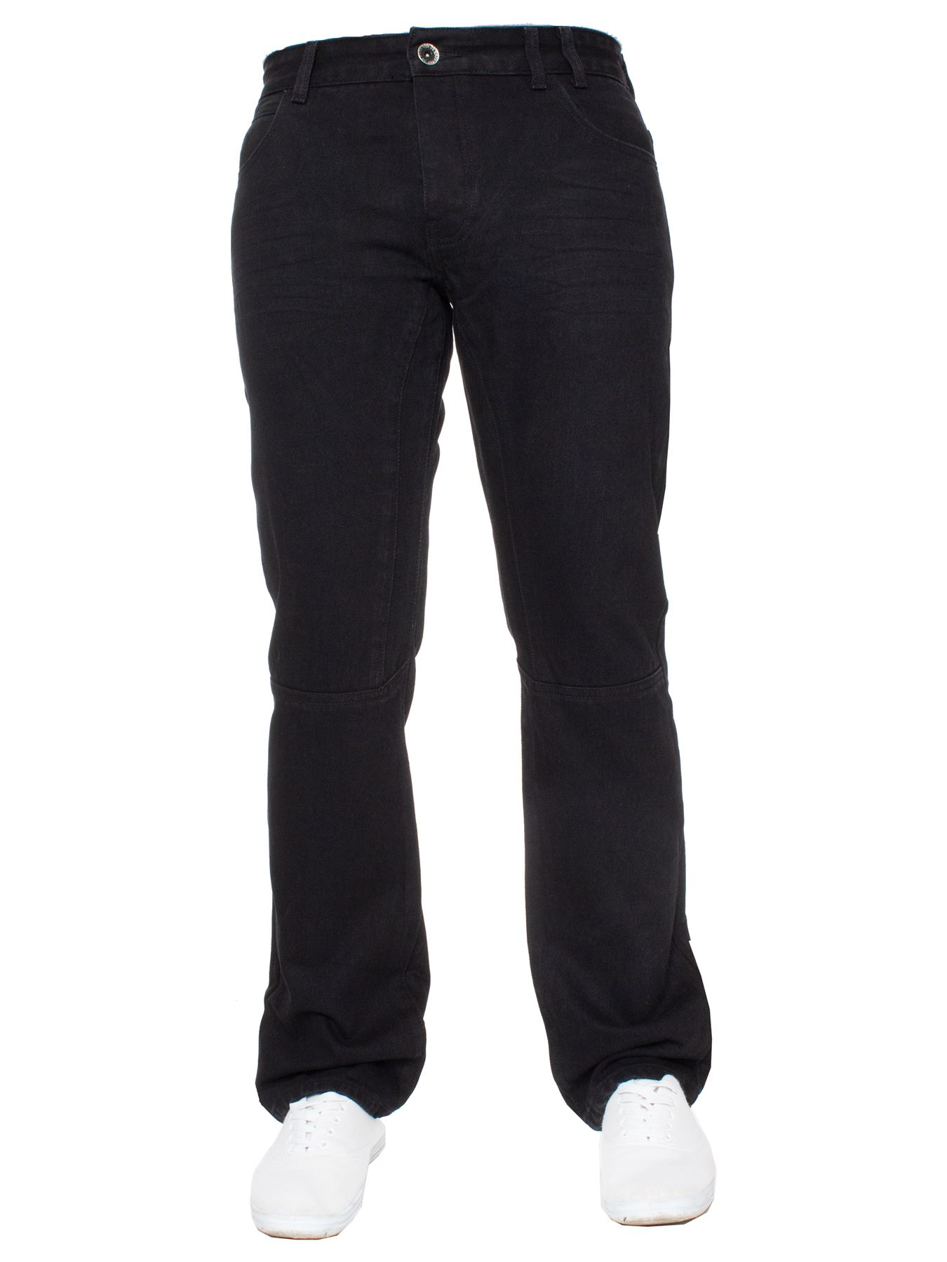 Enzo-Mens-Straight-Jeans-Regular-Leg-Designer-Work-Denim-Pants-All-Waists-Sizes thumbnail 13