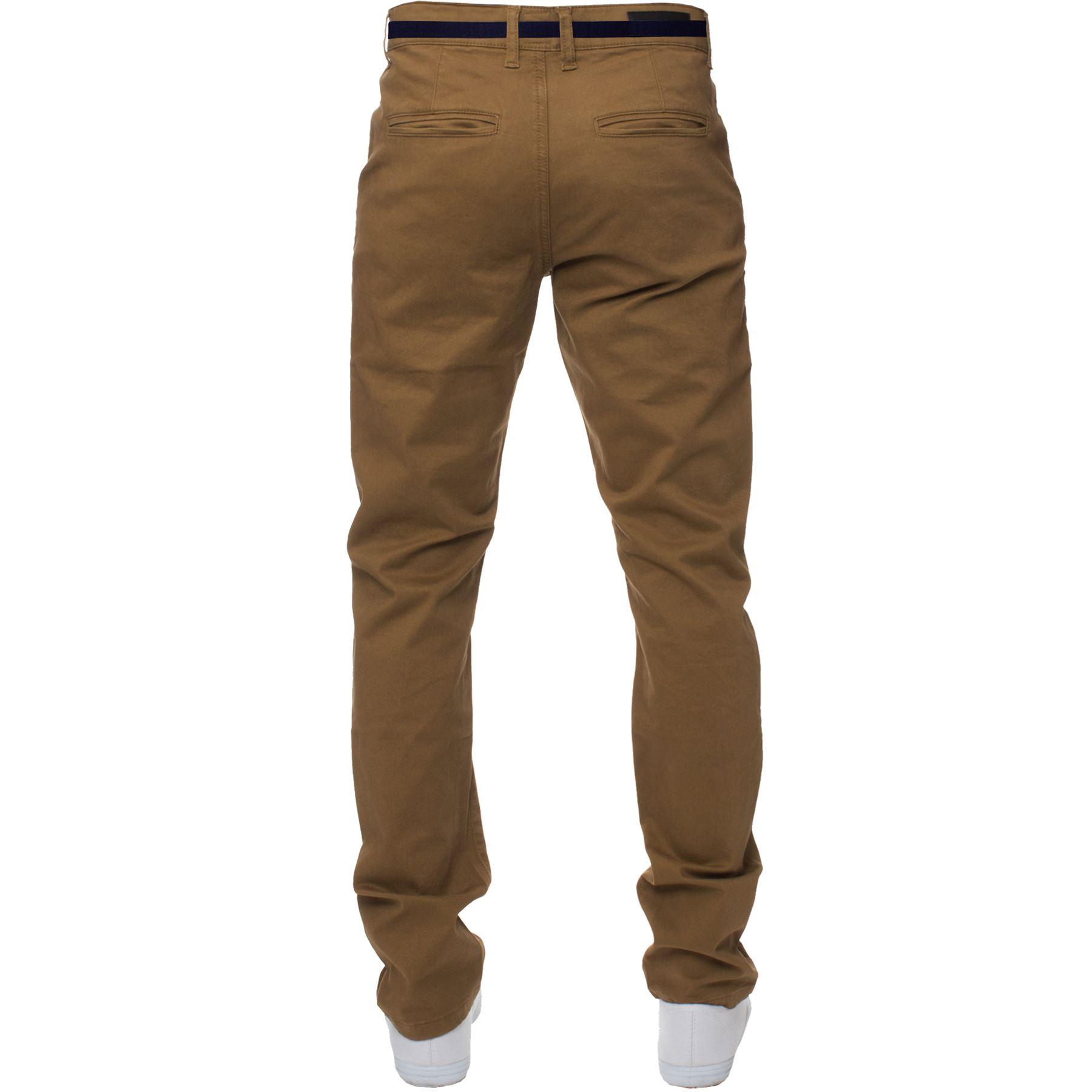ENZO-Para-Hombres-Pantalones-Slim-Fit-Algodon-Elastico-Pantalones-Chinos-Con-Cinturon-BIG-amp-TALL miniatura 15